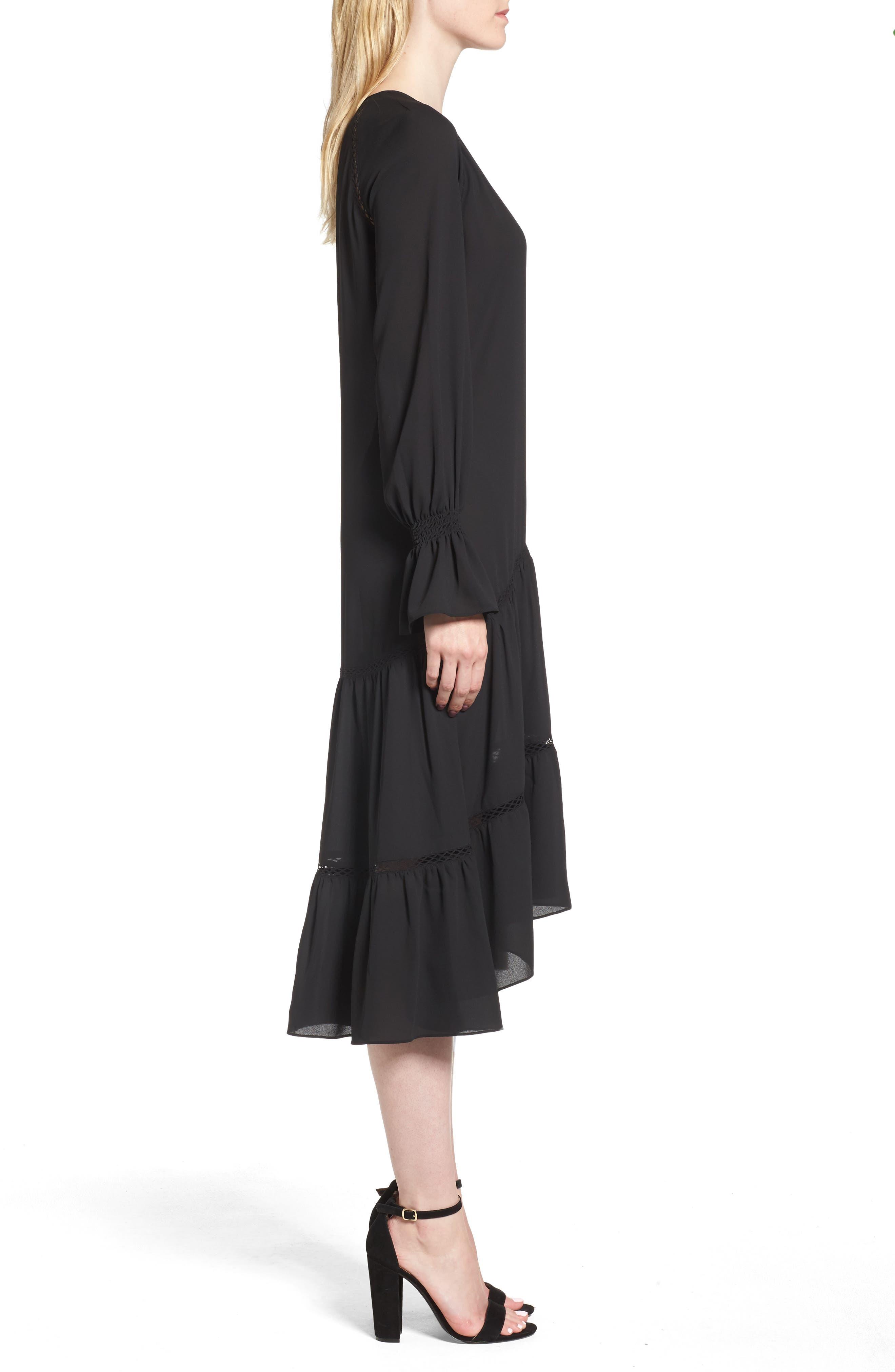 Drop Waist Midi Dress,                             Alternate thumbnail 3, color,                             001