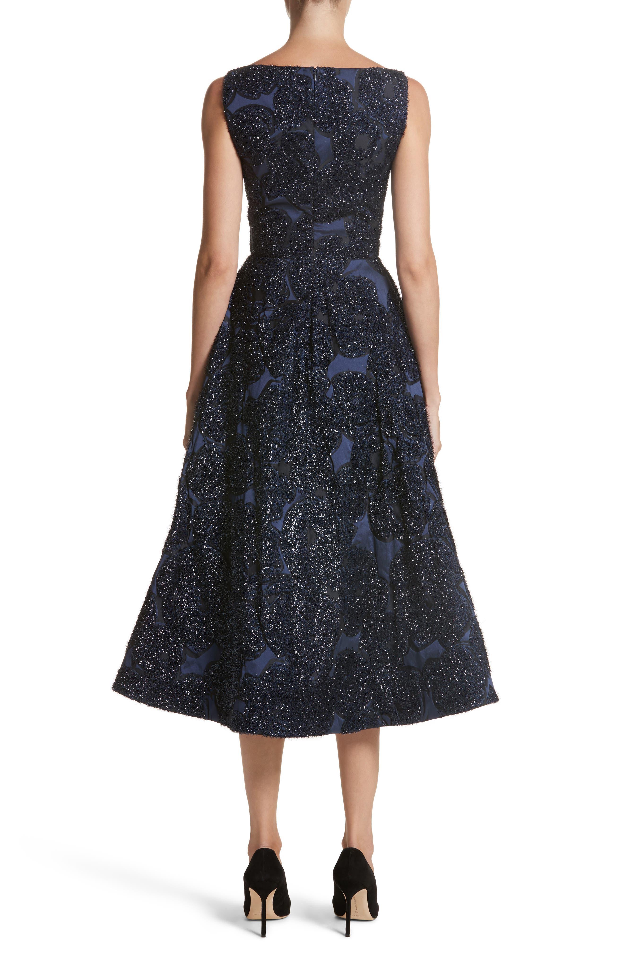 Metallic Jacquard Fit & Flare Dress,                             Alternate thumbnail 2, color,                             410