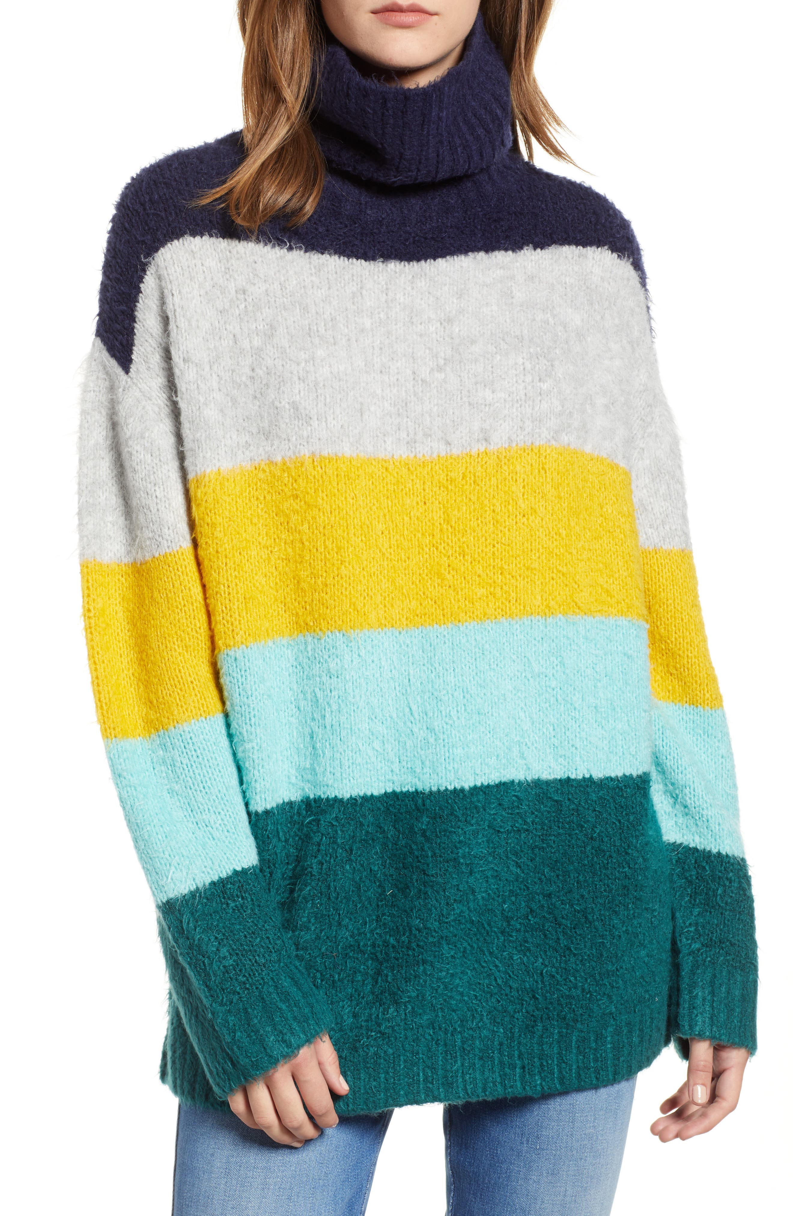 Bold Stripe Oversize Sweater,                             Main thumbnail 1, color,                             TEAL PACIFIC WIDE STRIPE