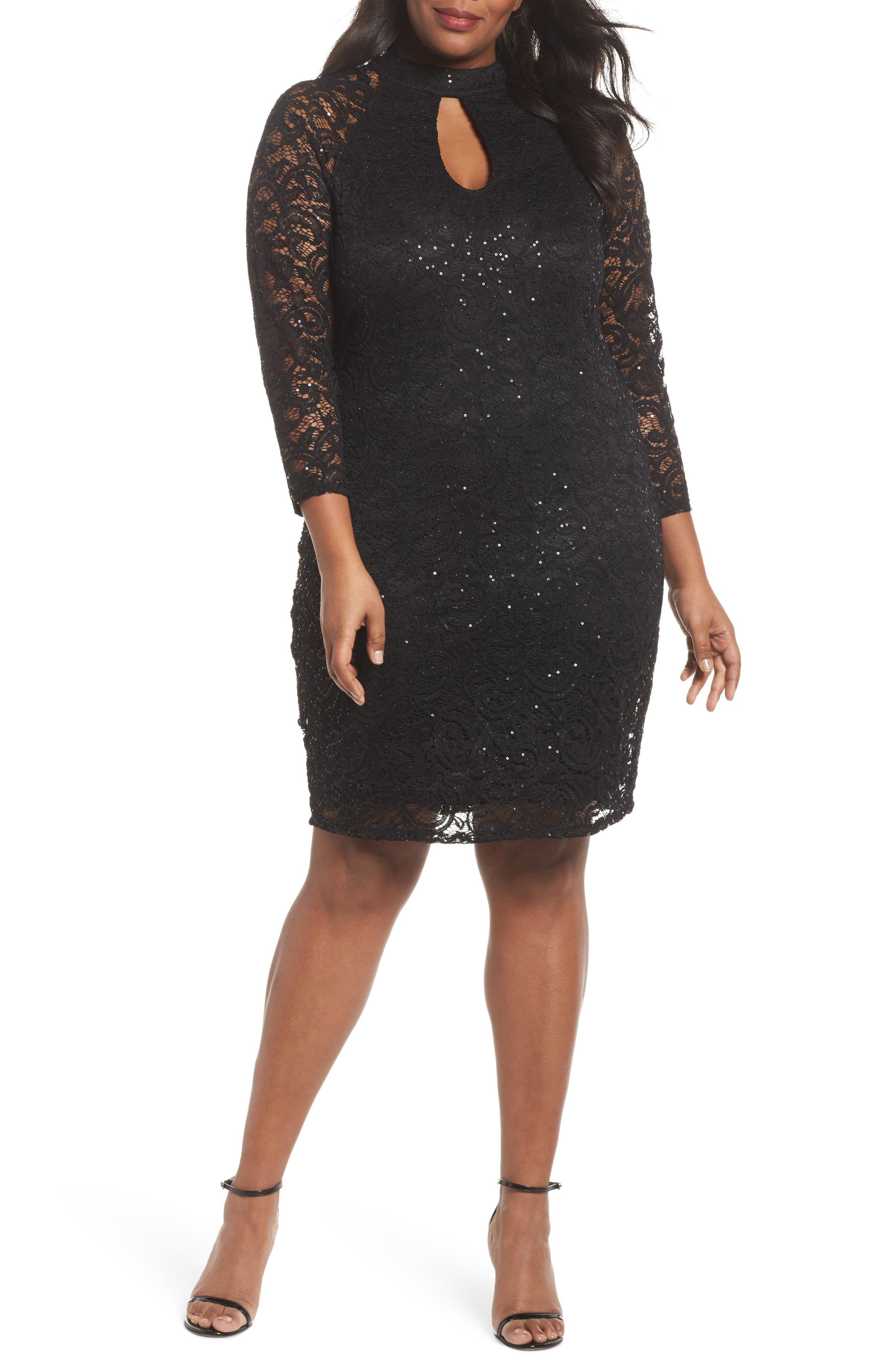 Sequin Keyhole Sheath Dress,                         Main,                         color, 001