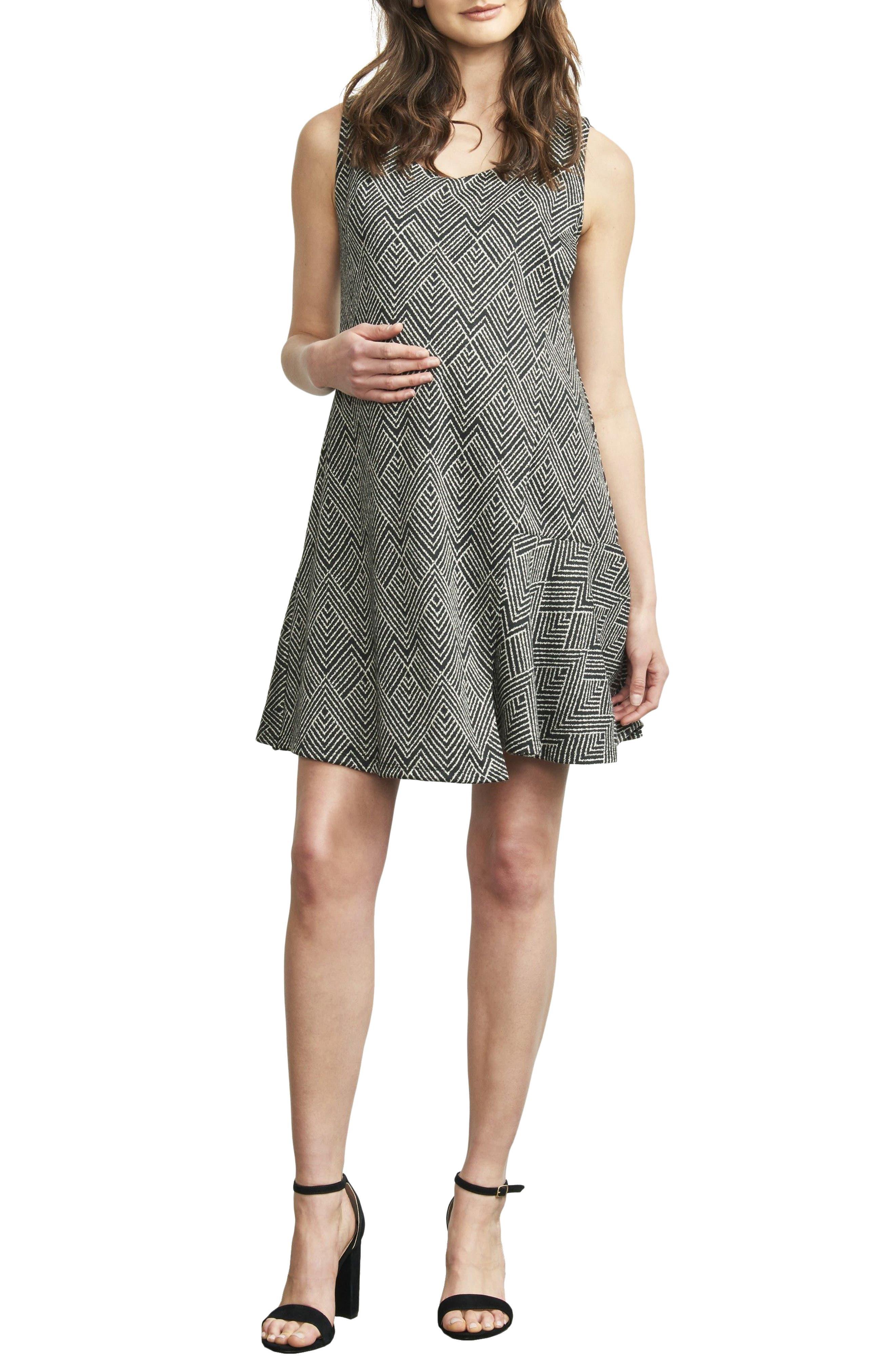Overlay Wrap Maternity/Nursing Dress,                         Main,                         color, IVORY DIAMOND