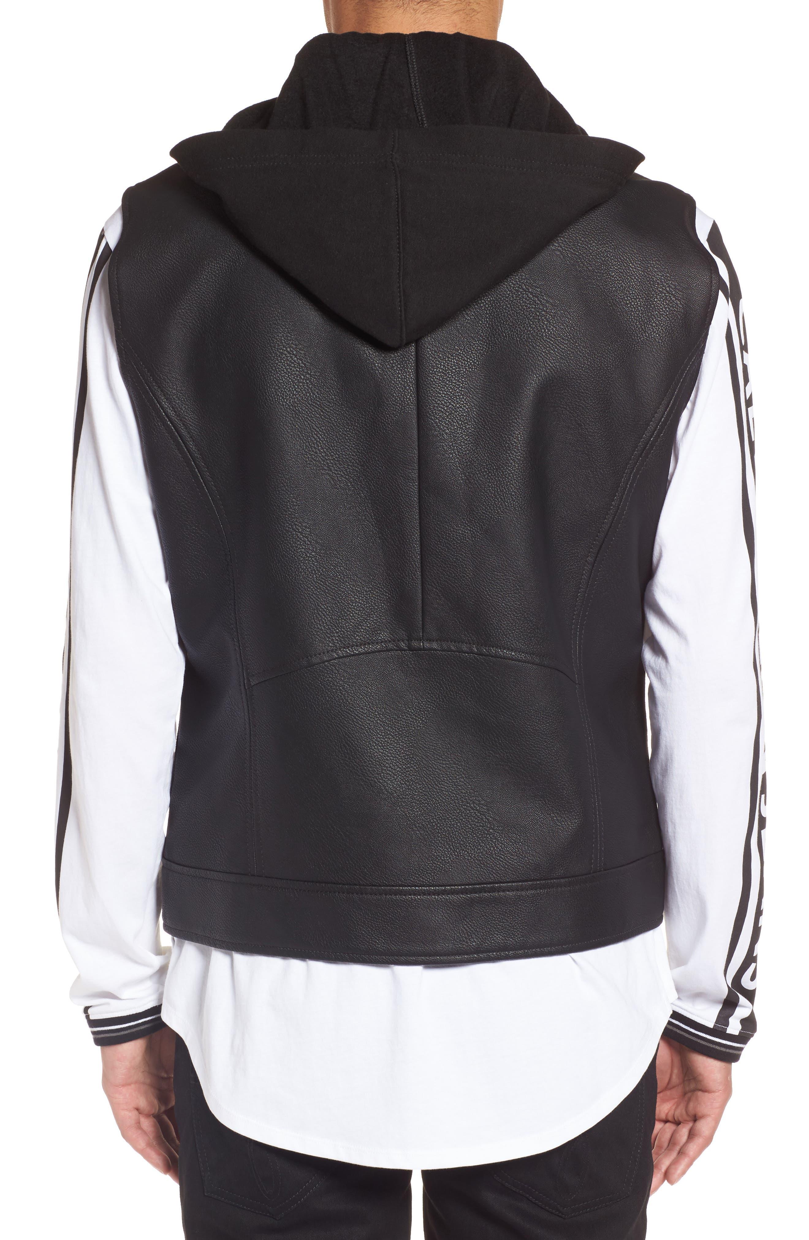Faux Leather Hooded Biker Vest,                             Alternate thumbnail 2, color,                             010