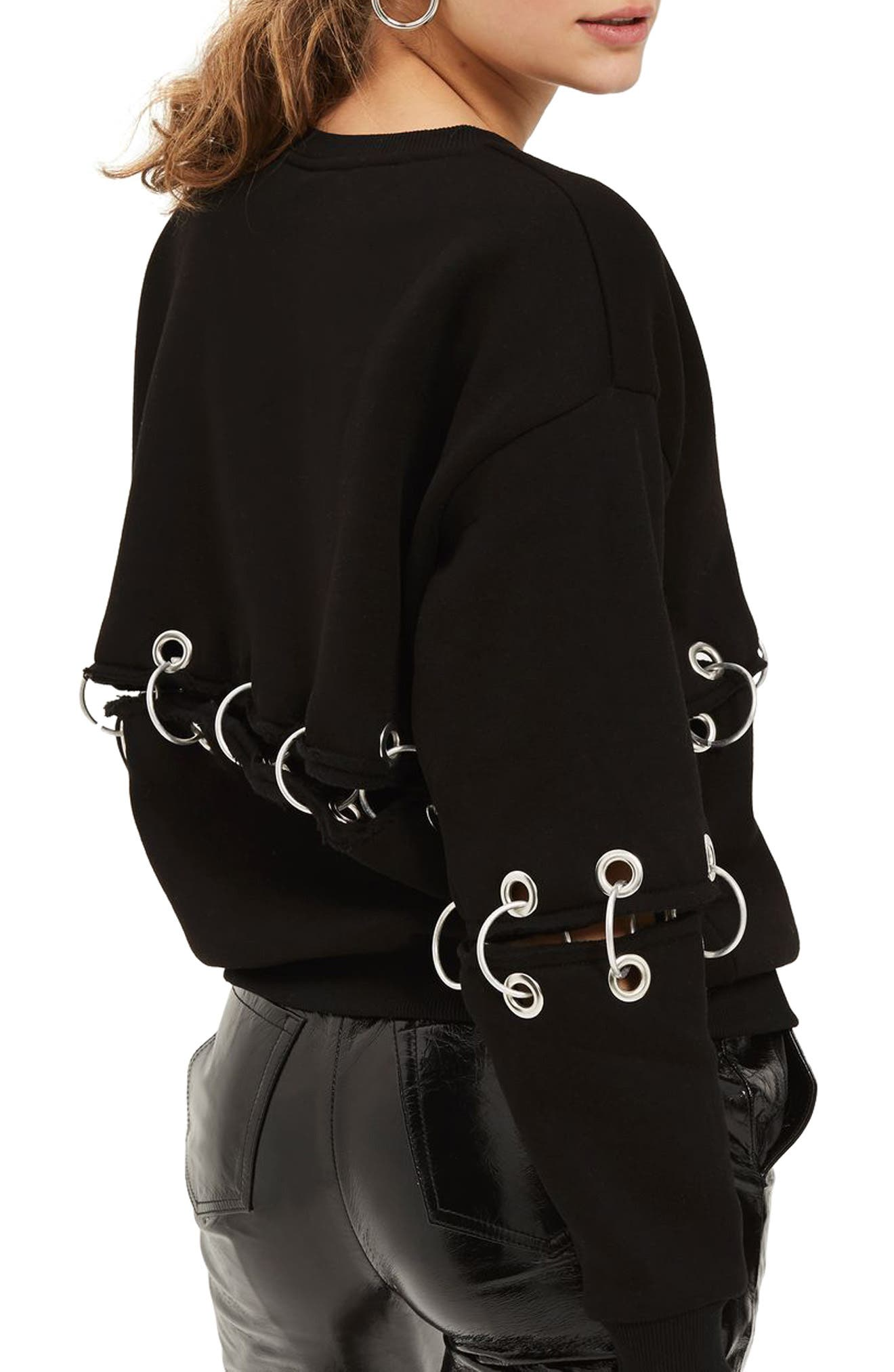 by And Finally Motörhead Ring Detail Sweatshirt,                             Alternate thumbnail 2, color,                             002