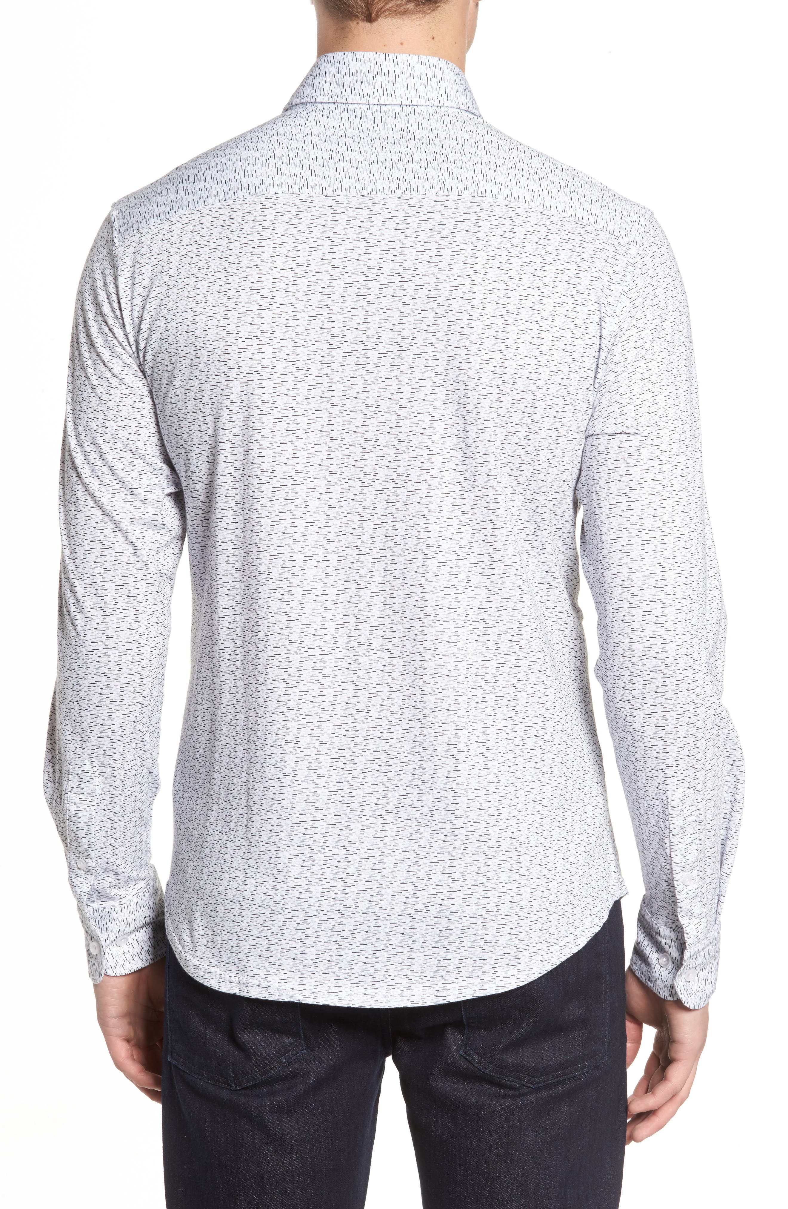 Slim Fit Print Knit Sport Shirt,                             Alternate thumbnail 2, color,                             001