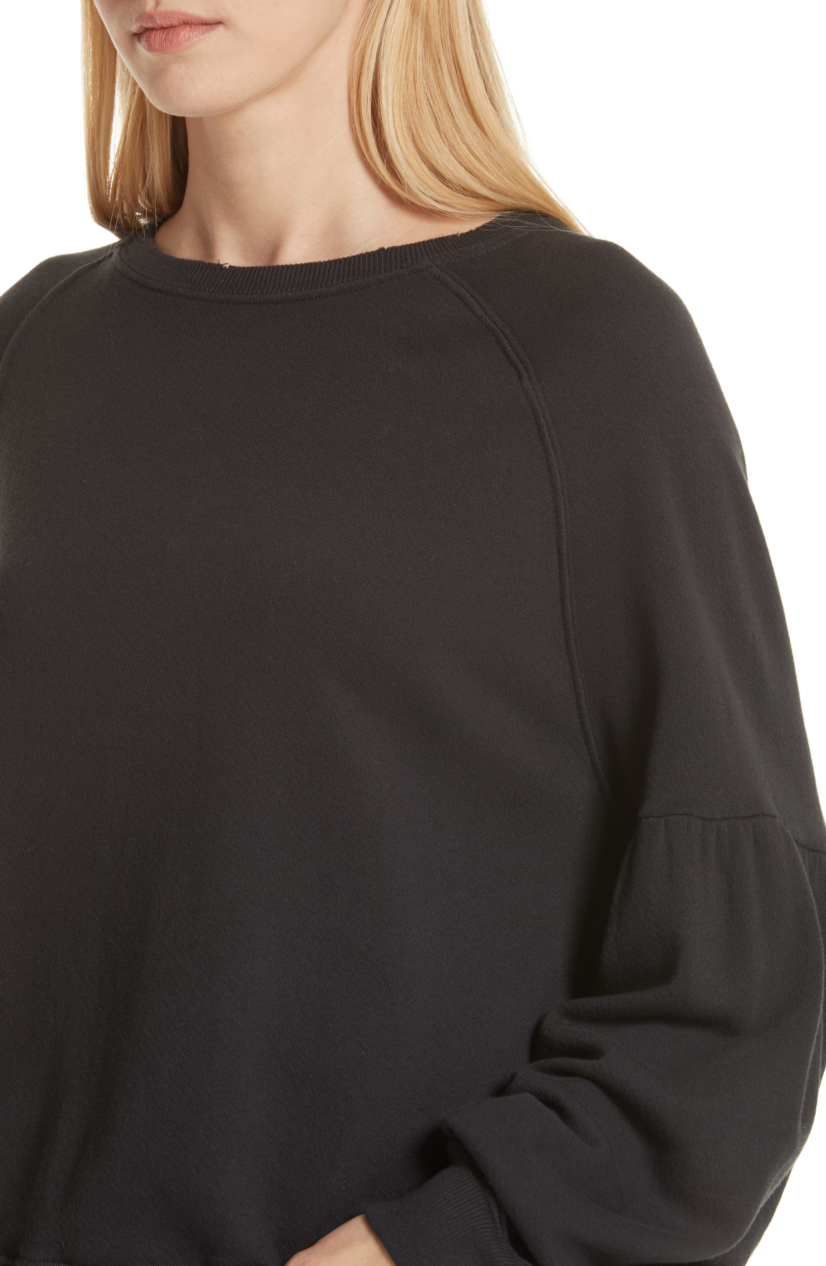 THE GREAT.,                             The Bishop Sleeve Sweatshirt,                             Alternate thumbnail 4, color,                             ALMOST BLACK