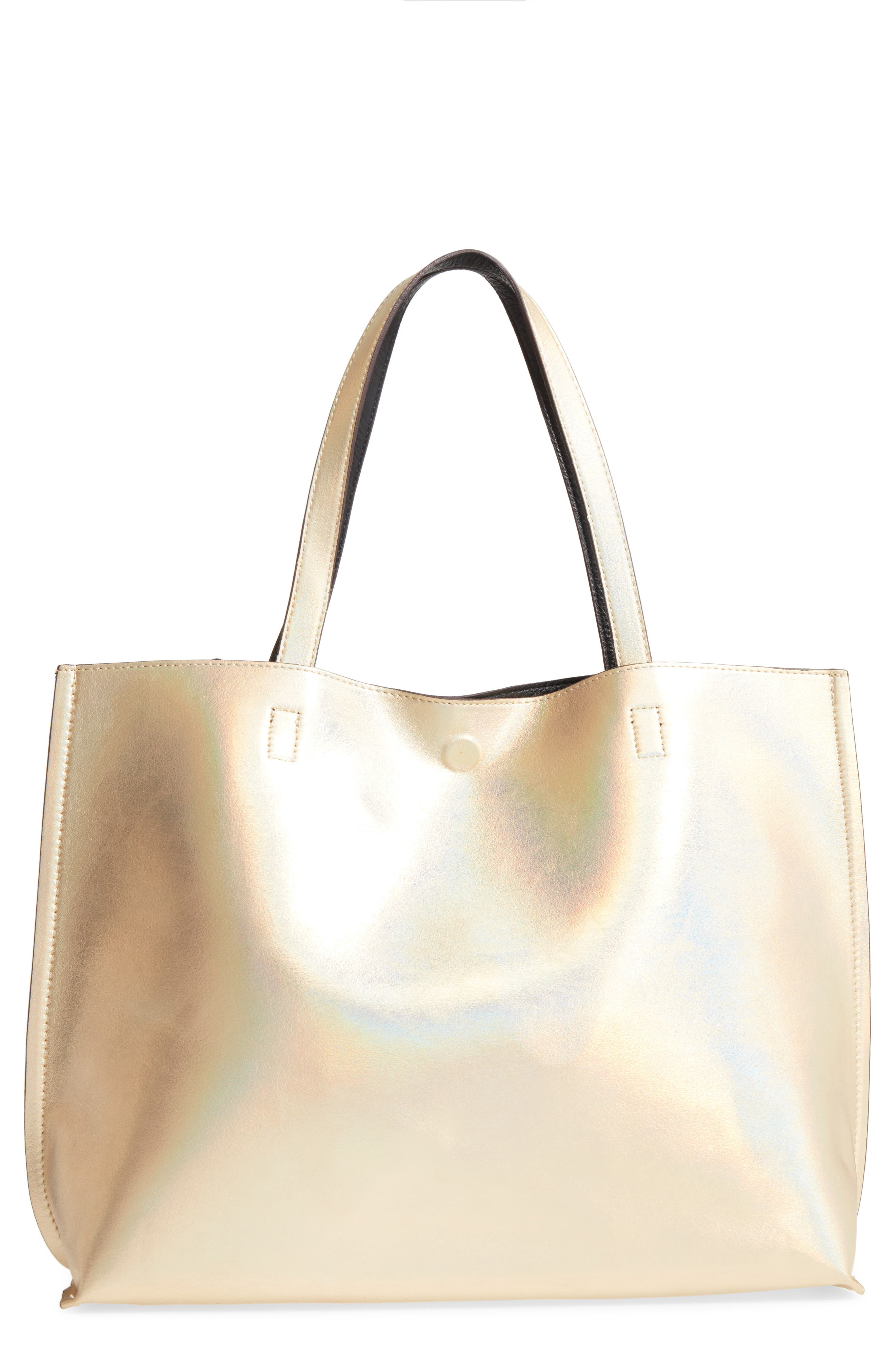 Reversible Faux Leather Tote,                             Main thumbnail 7, color,