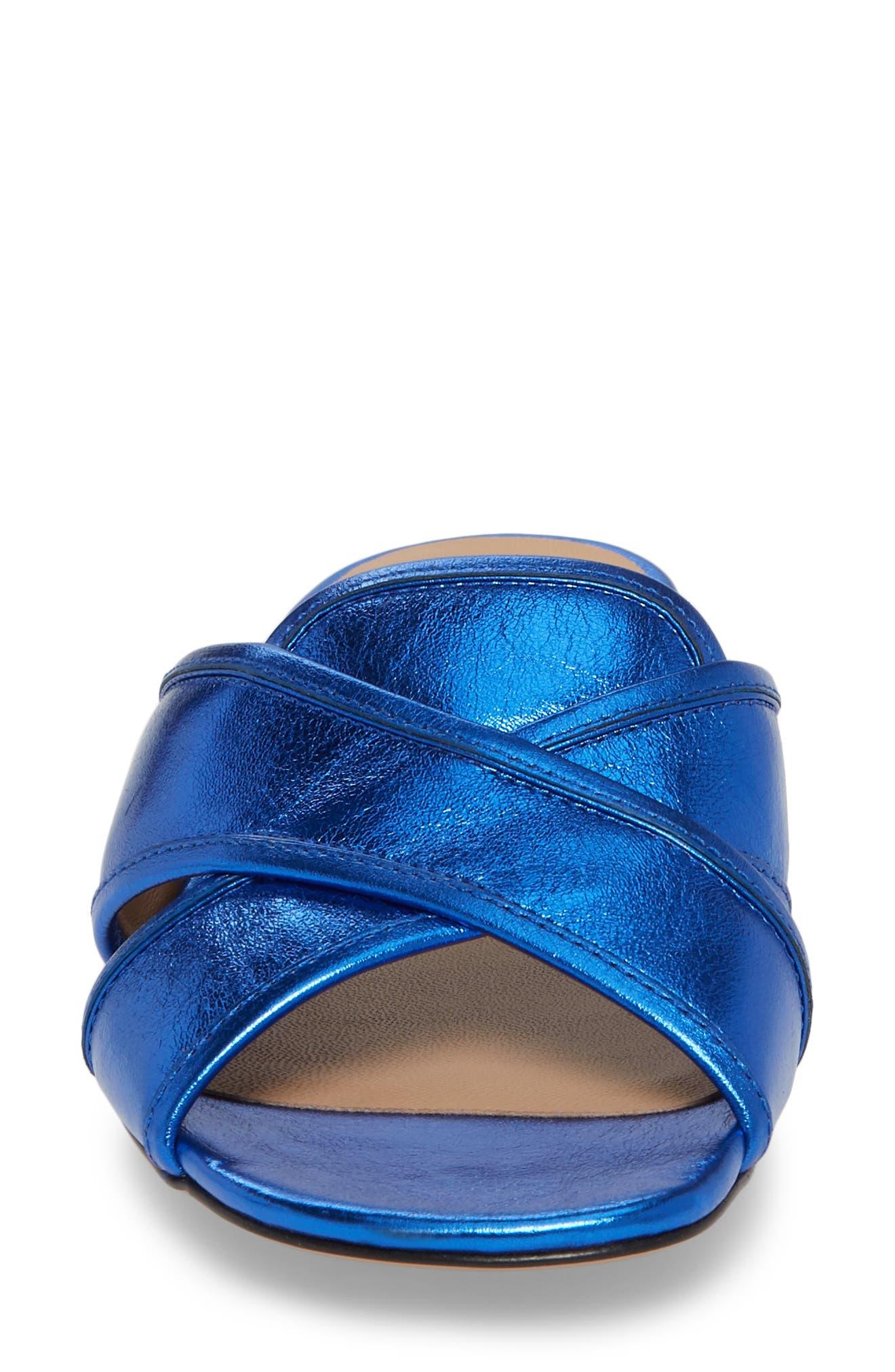 Aurora Metallic Slide Sandal,                             Alternate thumbnail 4, color,                             BLUE
