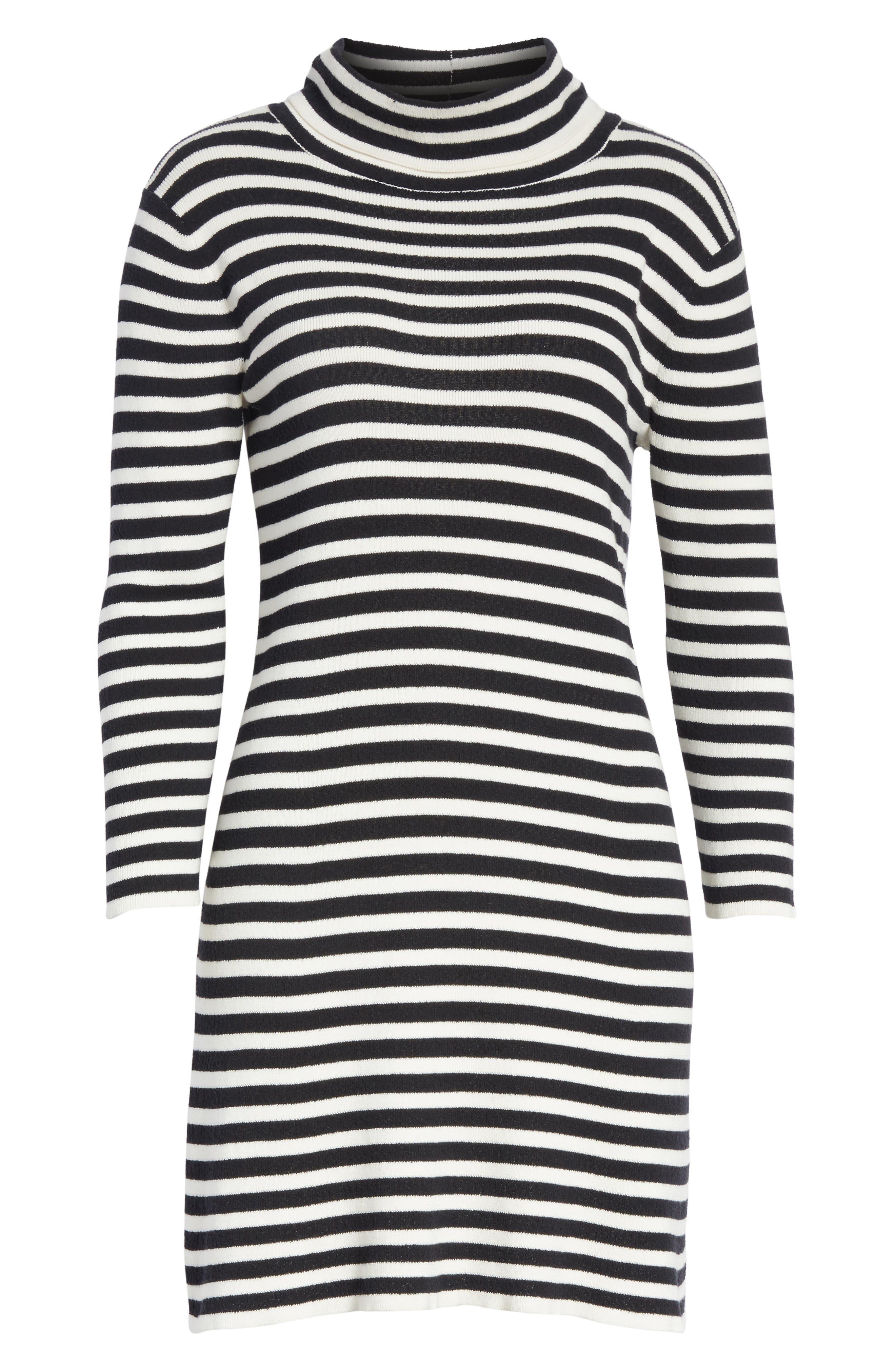 Stripe Cowl Neck Dress,                             Alternate thumbnail 6, color,