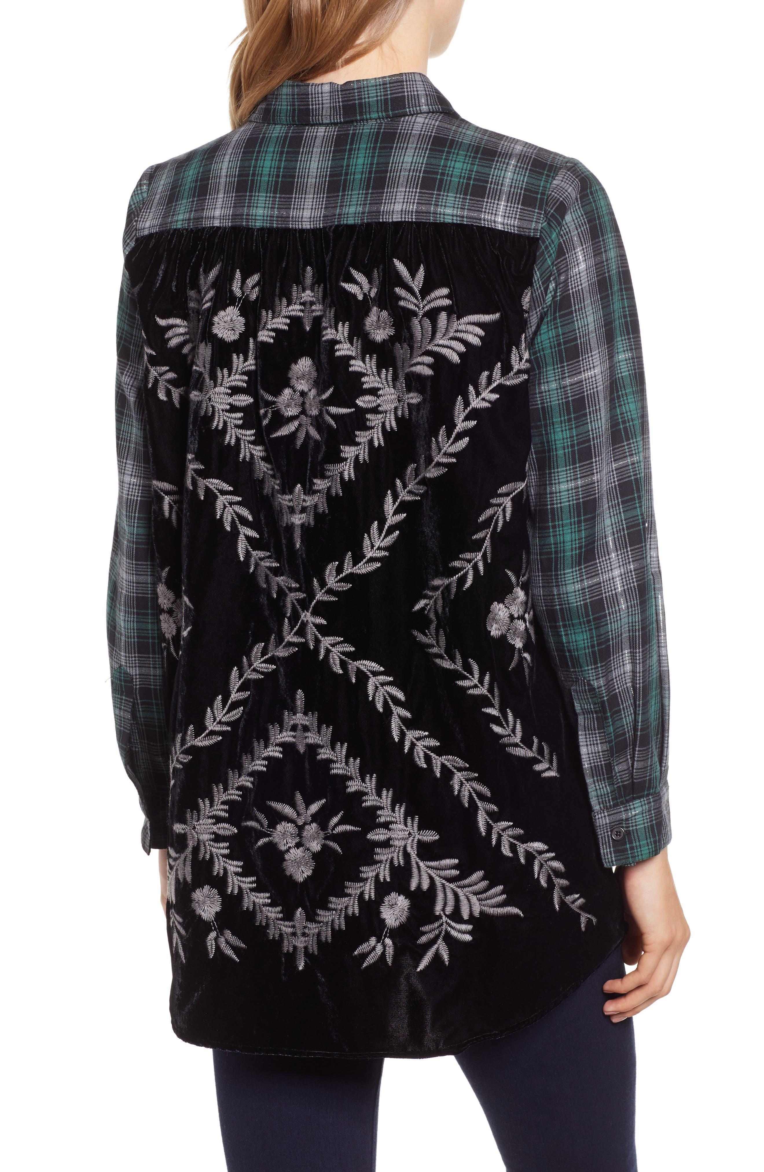 Plaid & Embroidered Velvet Shirt,                             Alternate thumbnail 2, color,                             GREEN/ GREY