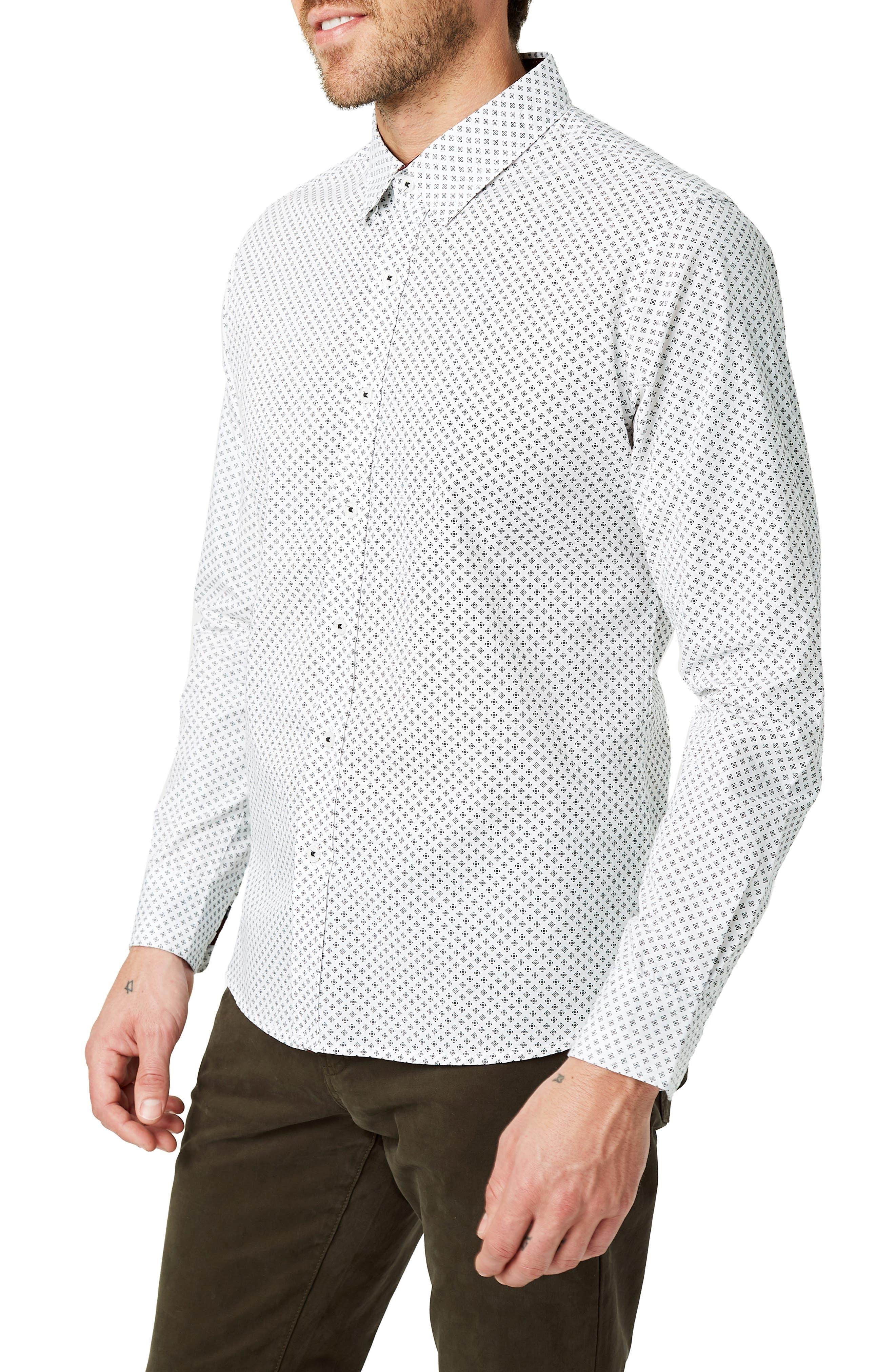 Radio Mix Slim Fit Sport Shirt,                             Alternate thumbnail 4, color,                             WHITE