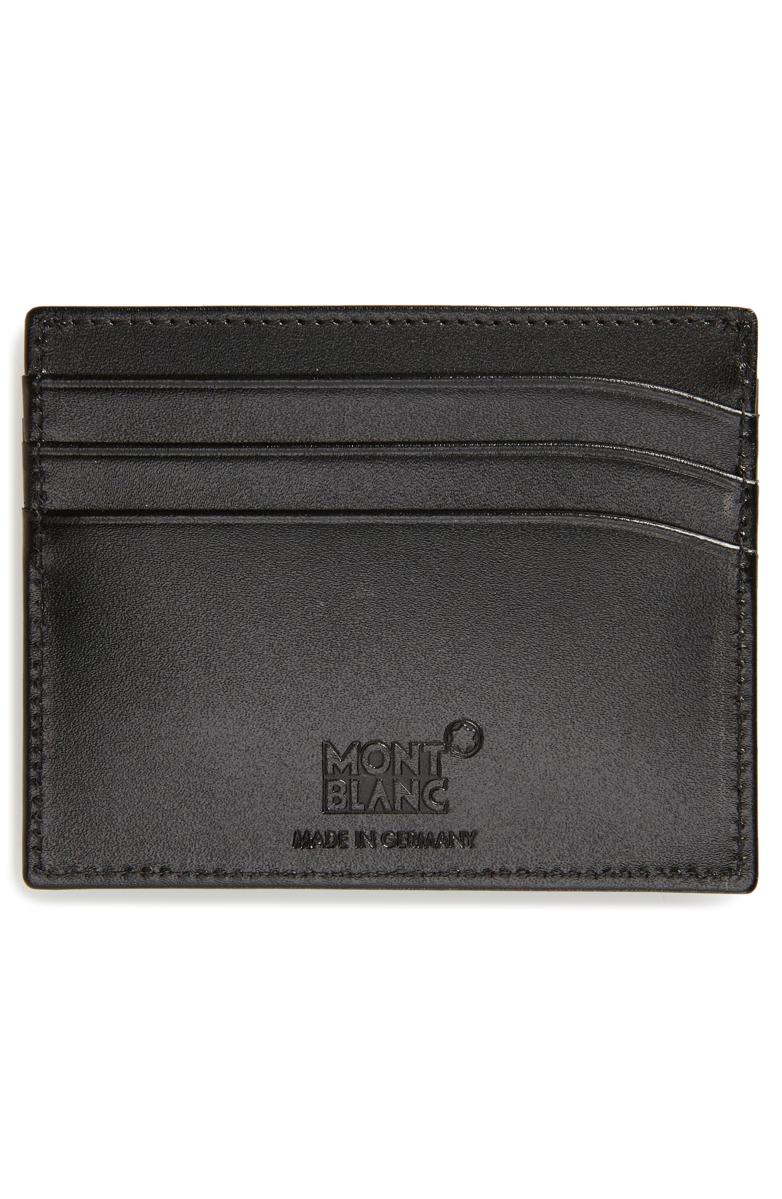 Meisterstück Leather Card Case,                             Alternate thumbnail 2, color,                             BLACK