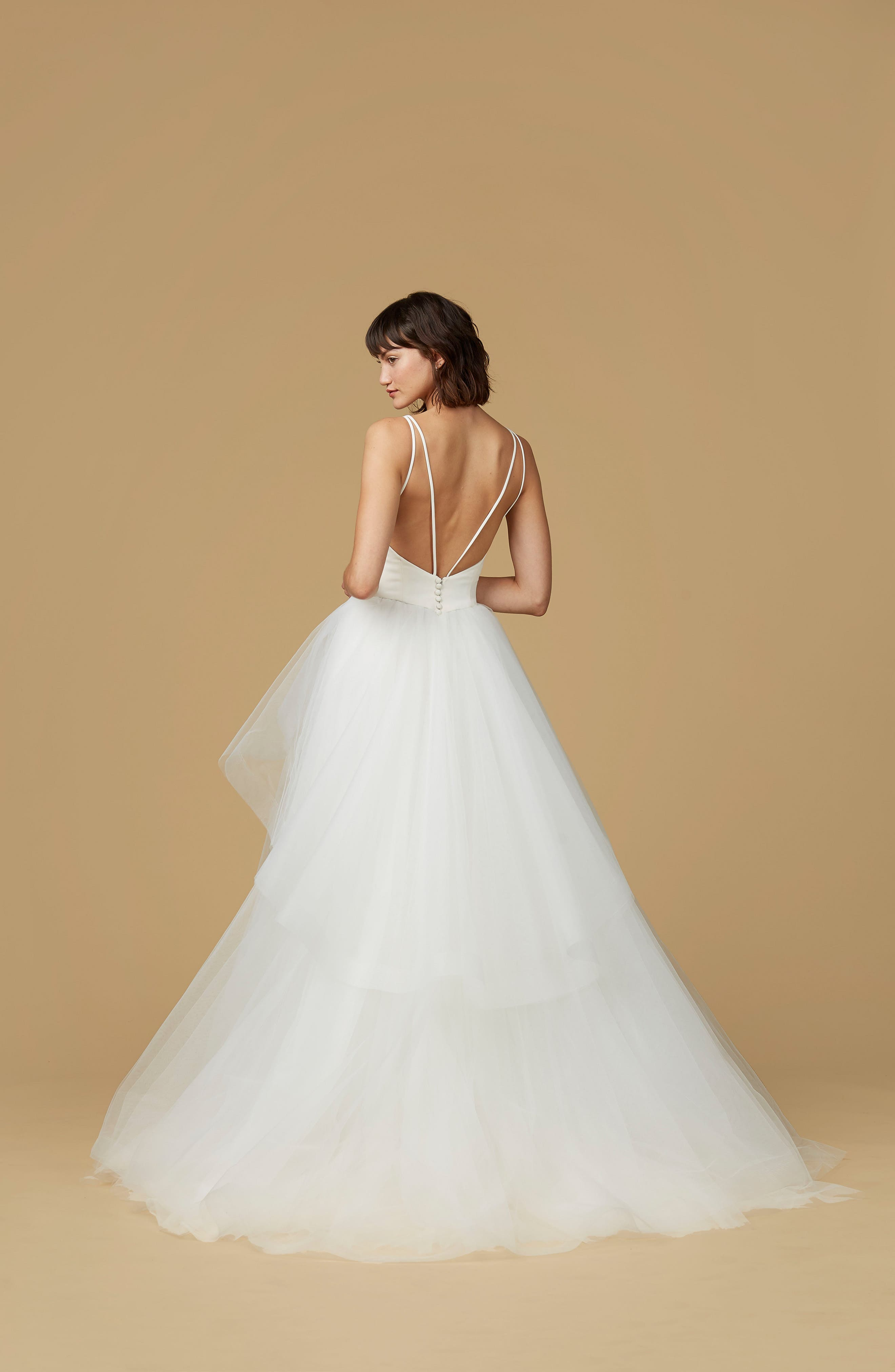 Mischa Strappy Tulle Ballgown,                             Alternate thumbnail 2, color,                             IVORY