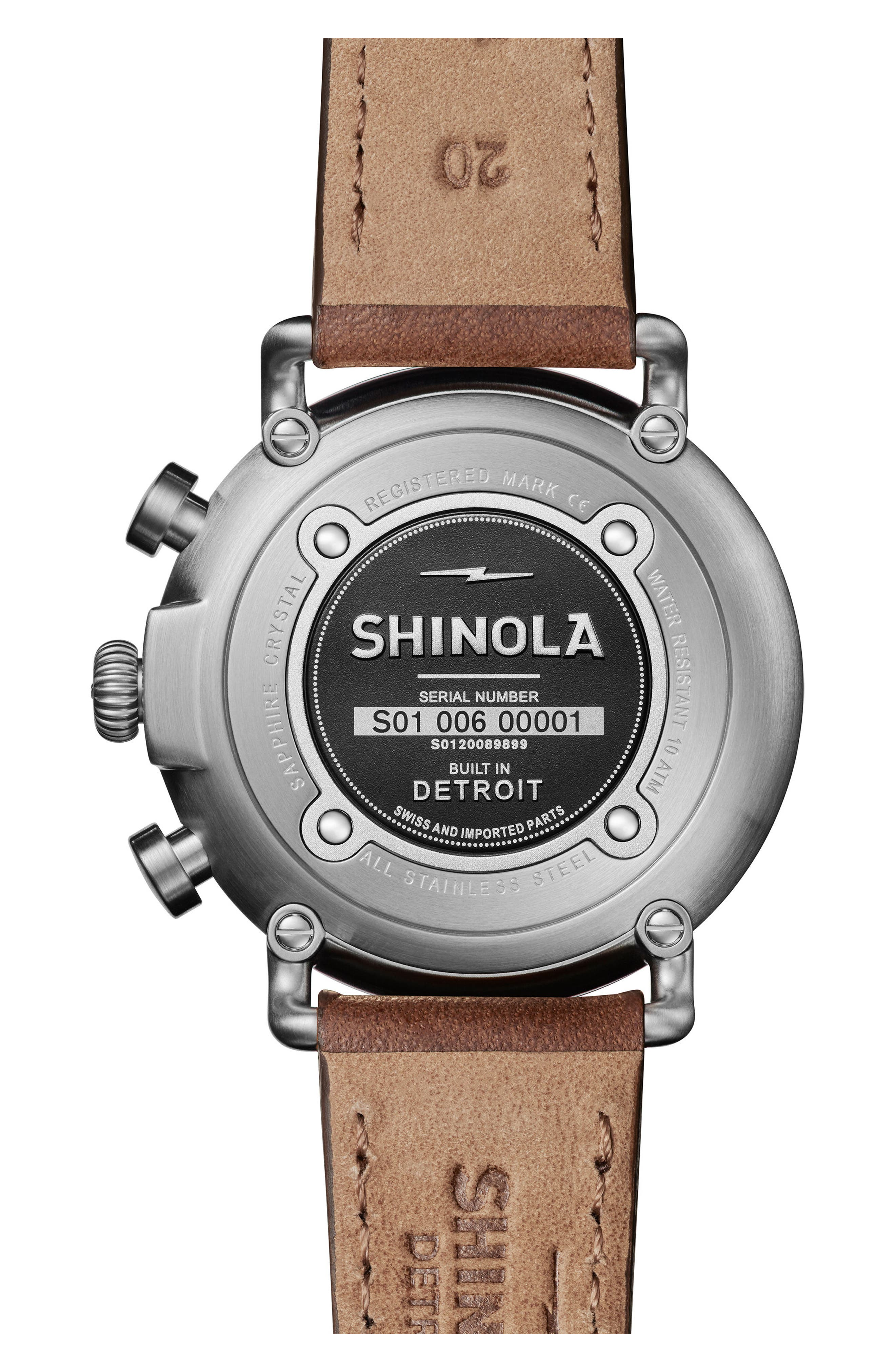The Runwell Chronograph Leather Strap Watch, 41mm,                             Alternate thumbnail 2, color,                             CATTAIL BROWN/ BLACK/ SILVER