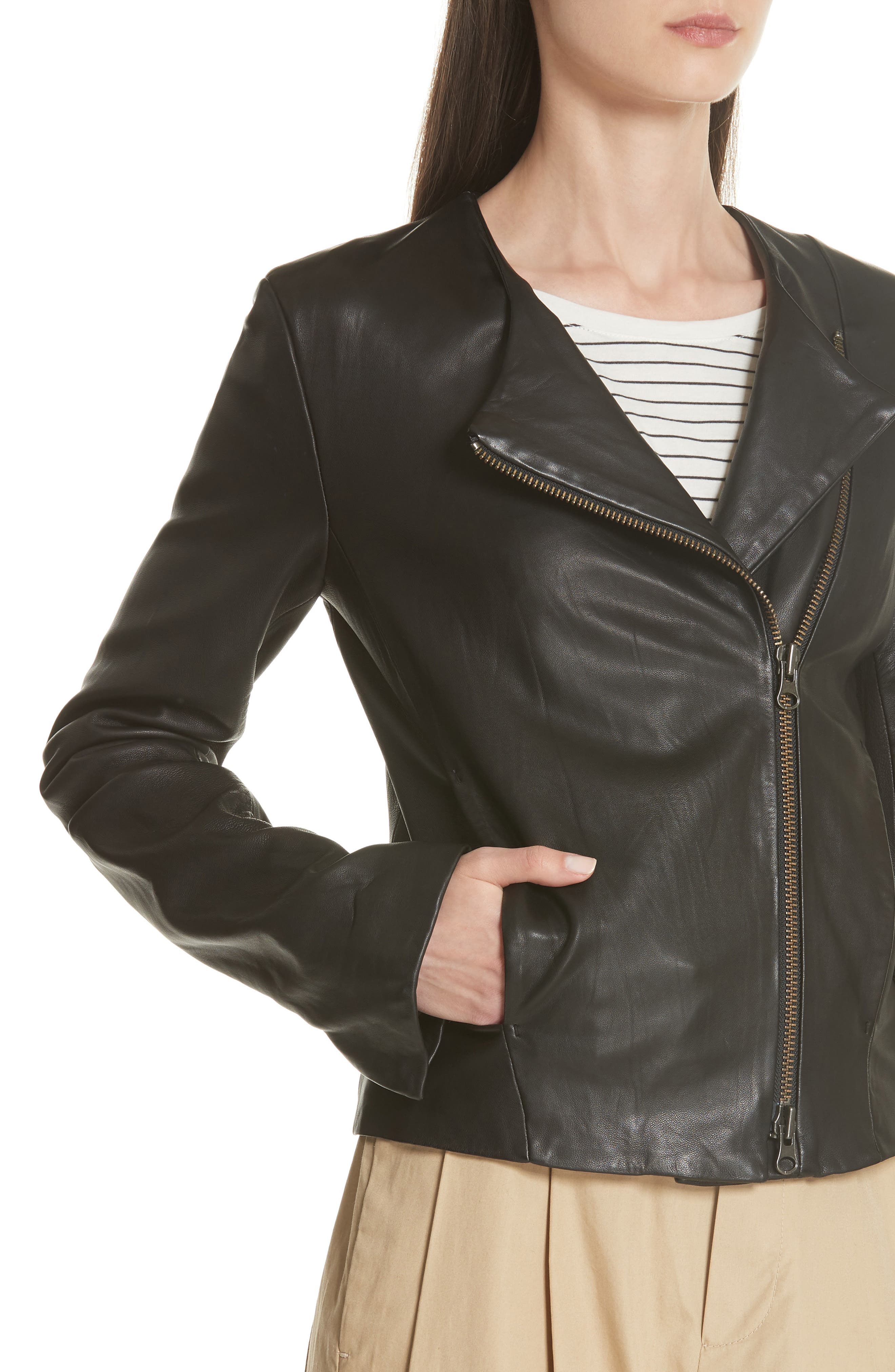 Zip Cross Front Leather Jacket,                             Alternate thumbnail 4, color,                             BLACK
