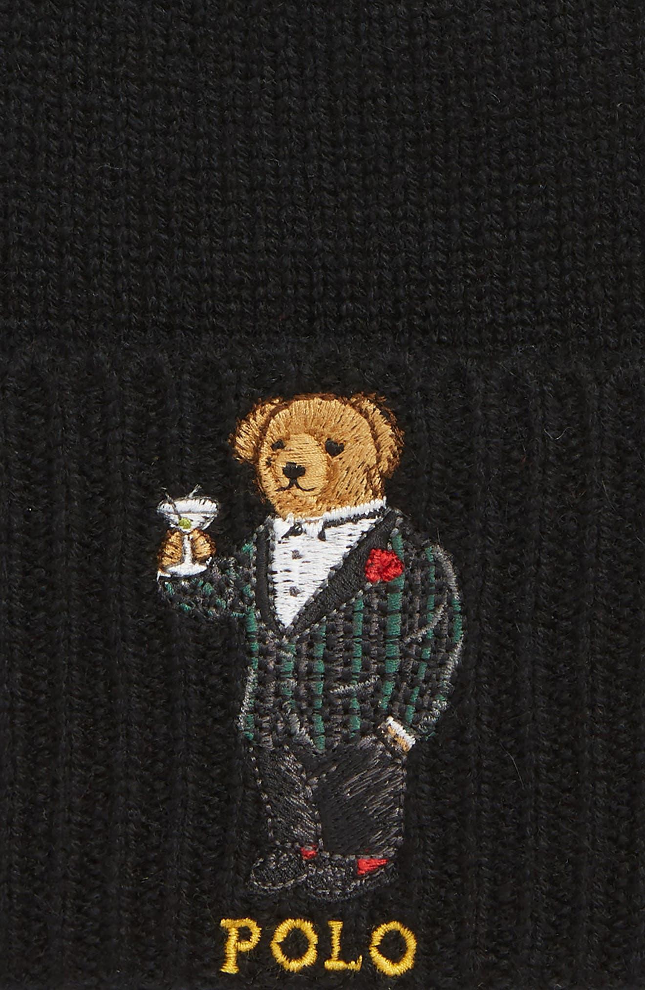 Tartan Martini Bear Wool & Cashmere Beanie,                             Alternate thumbnail 2, color,                             001