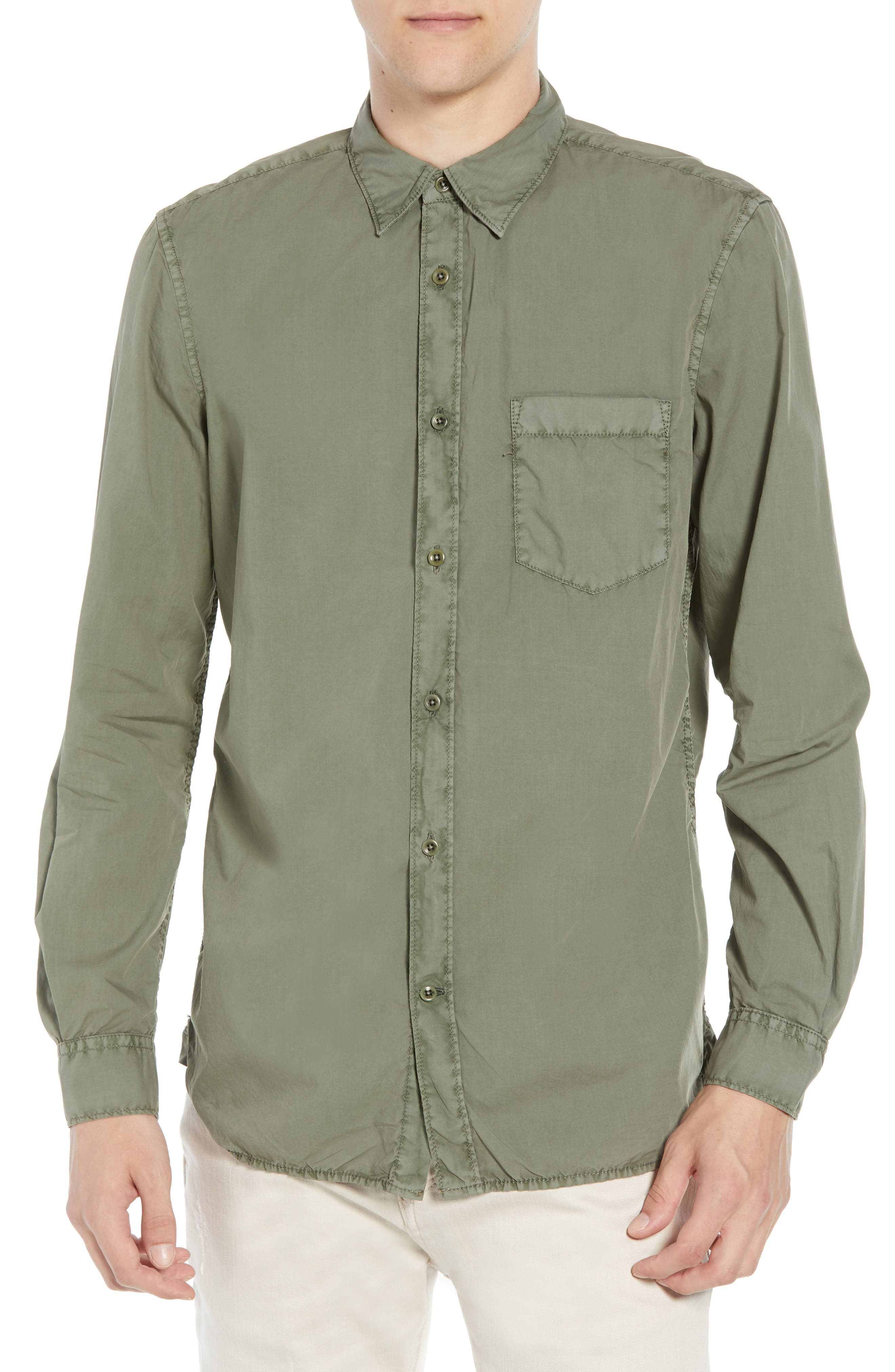 French Connection Overdyed Regular Fit Poplin Sport Shirt, Green