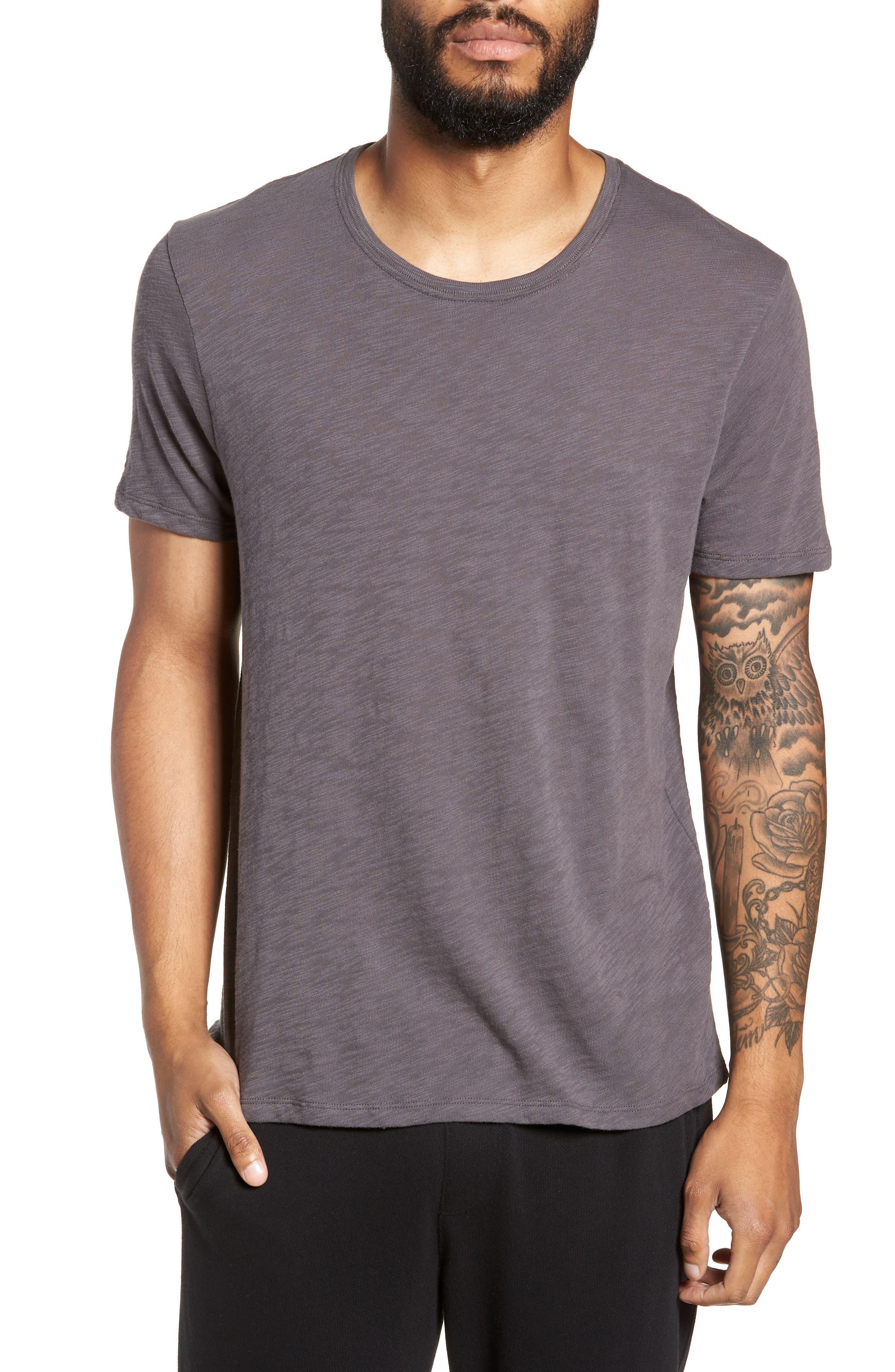 Crewneck T-Shirt,                         Main,                         color, CHARCOAL