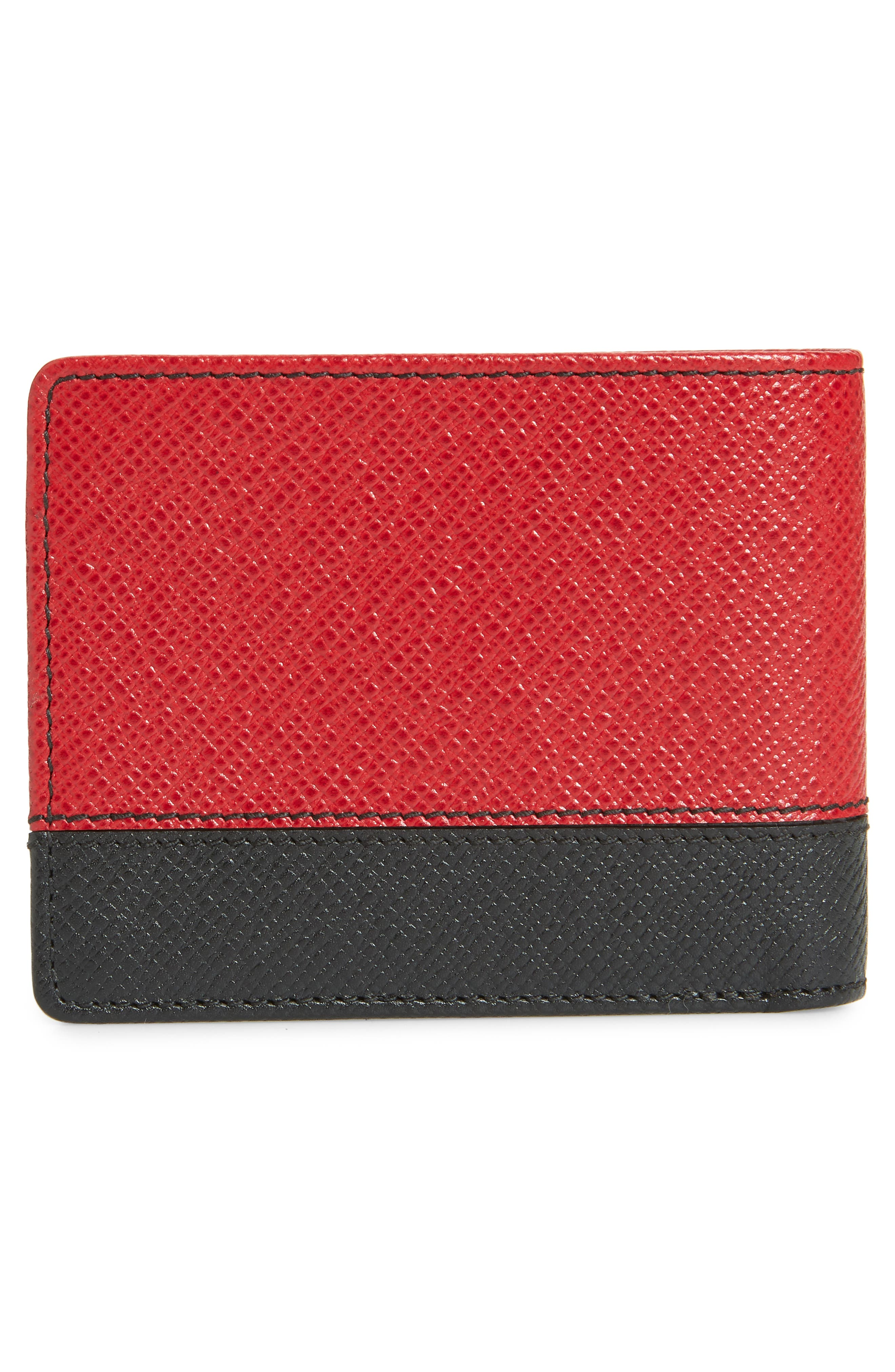 Embossed Leather Wallet,                             Alternate thumbnail 3, color,                             DARK RED
