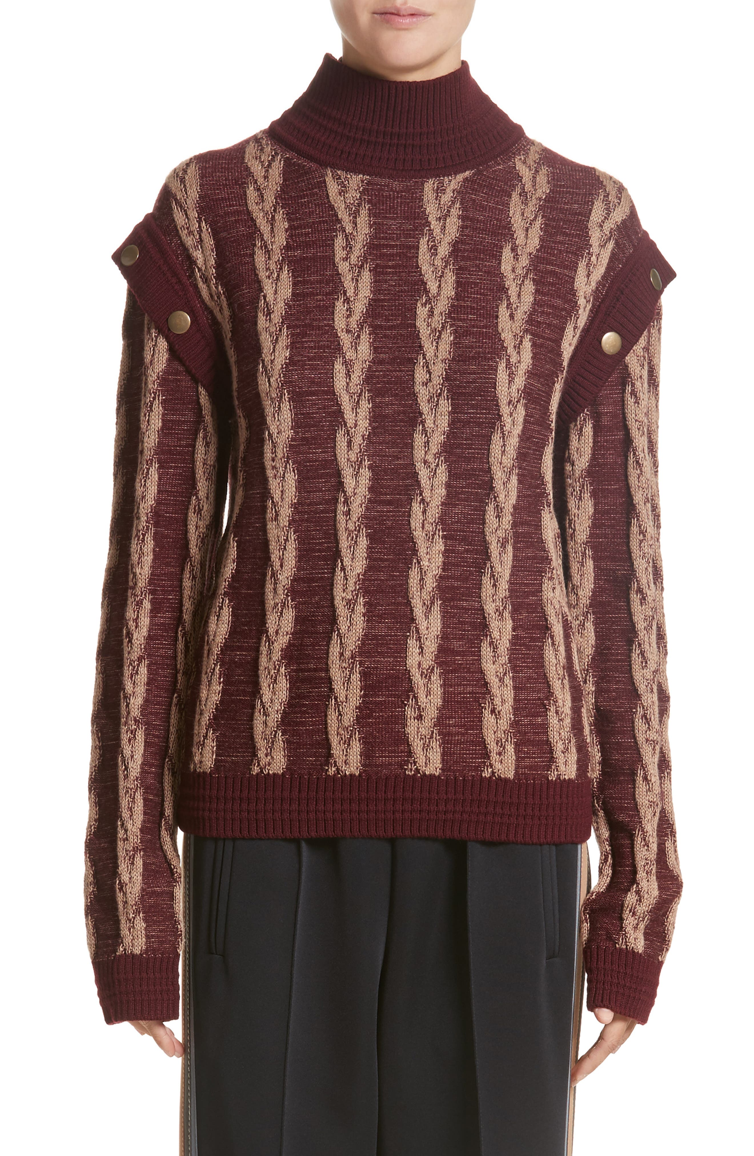 Cable Knit Turtleneck Sweater,                             Main thumbnail 1, color,                             930