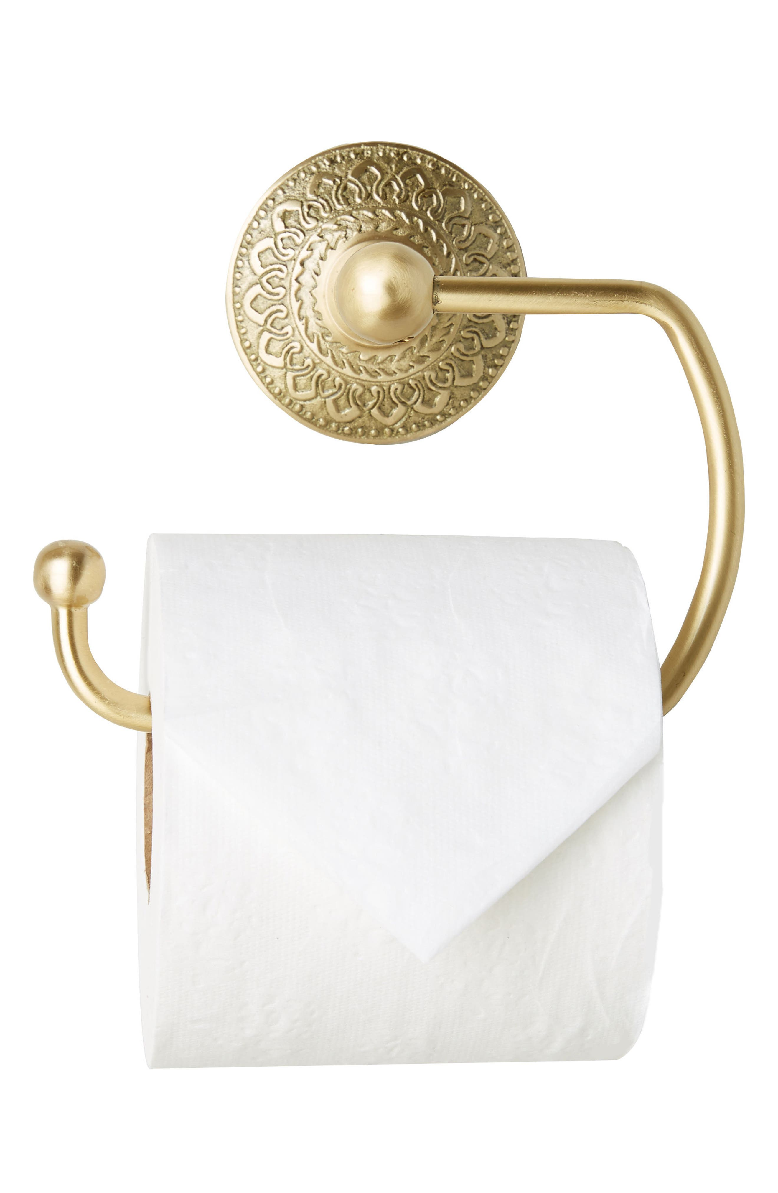 Brass Medallion Toilet Paper Holder,                             Alternate thumbnail 4, color,                             710