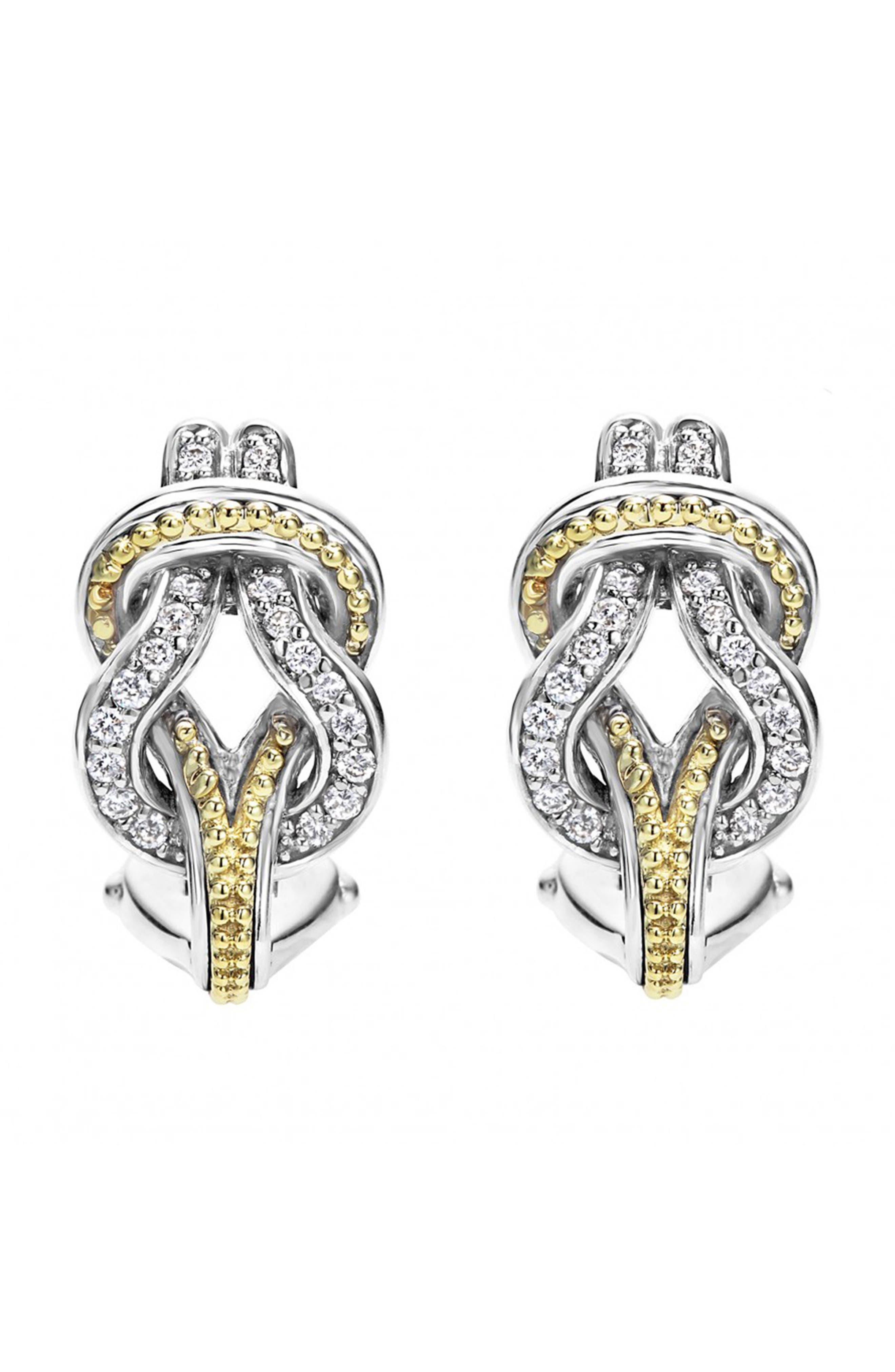 'Newport' Diamond Knot Earrings,                             Main thumbnail 1, color,                             SILVER/ GOLD