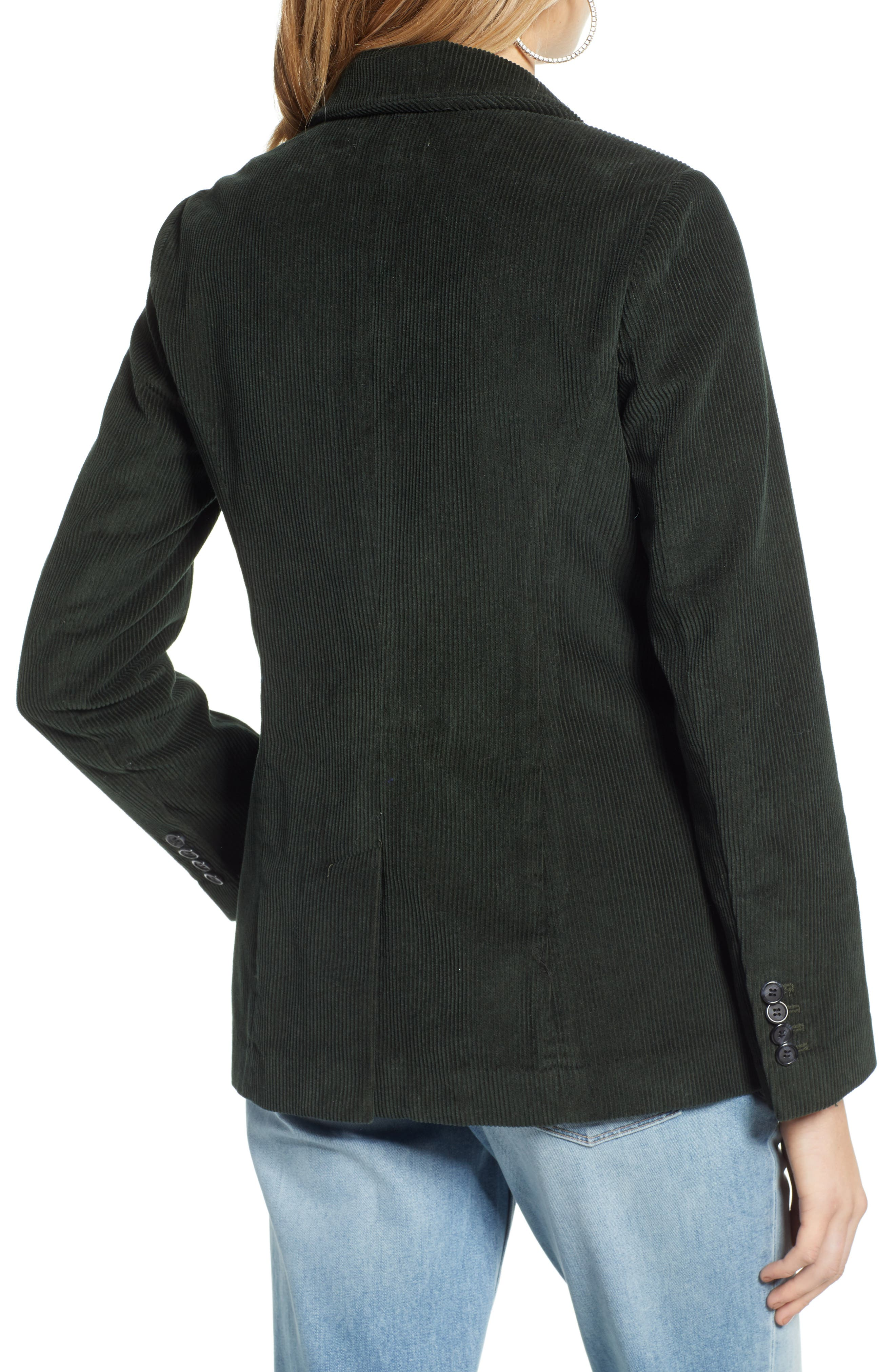 Double Breasted Corduroy Blazer,                             Alternate thumbnail 2, color,                             GREEN TIMBER