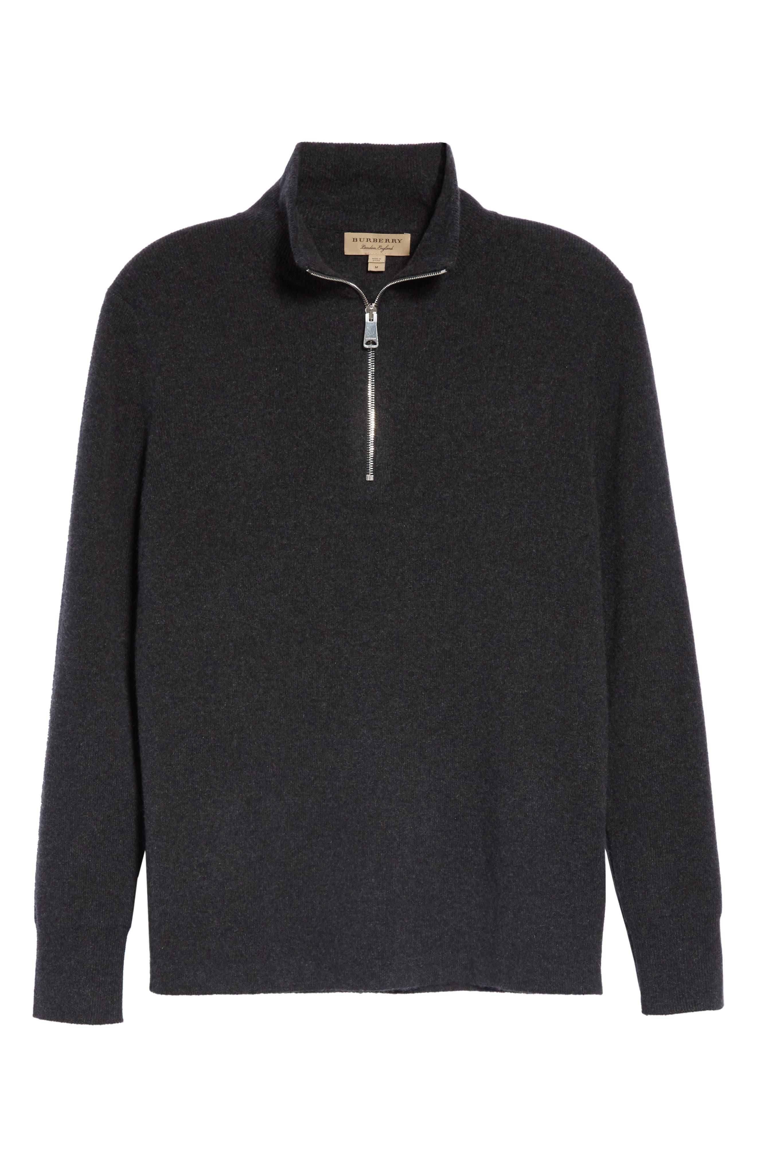 Hendon Quarter Zip Cashmere Sweater,                             Alternate thumbnail 6, color,                             CHARCOAL MELANGE
