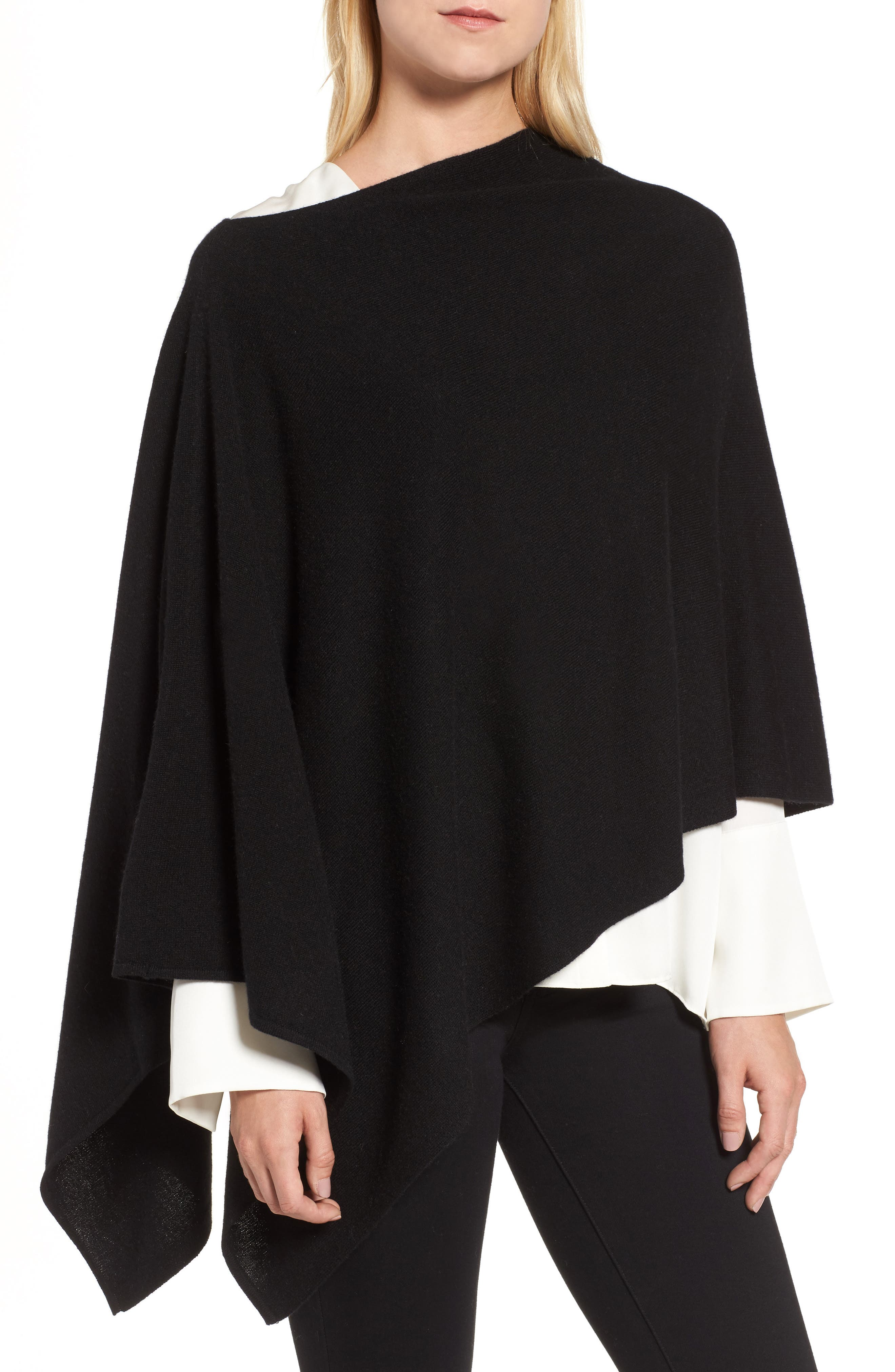 Convertible Cashmere Poncho,                             Main thumbnail 1, color,                             BLACK