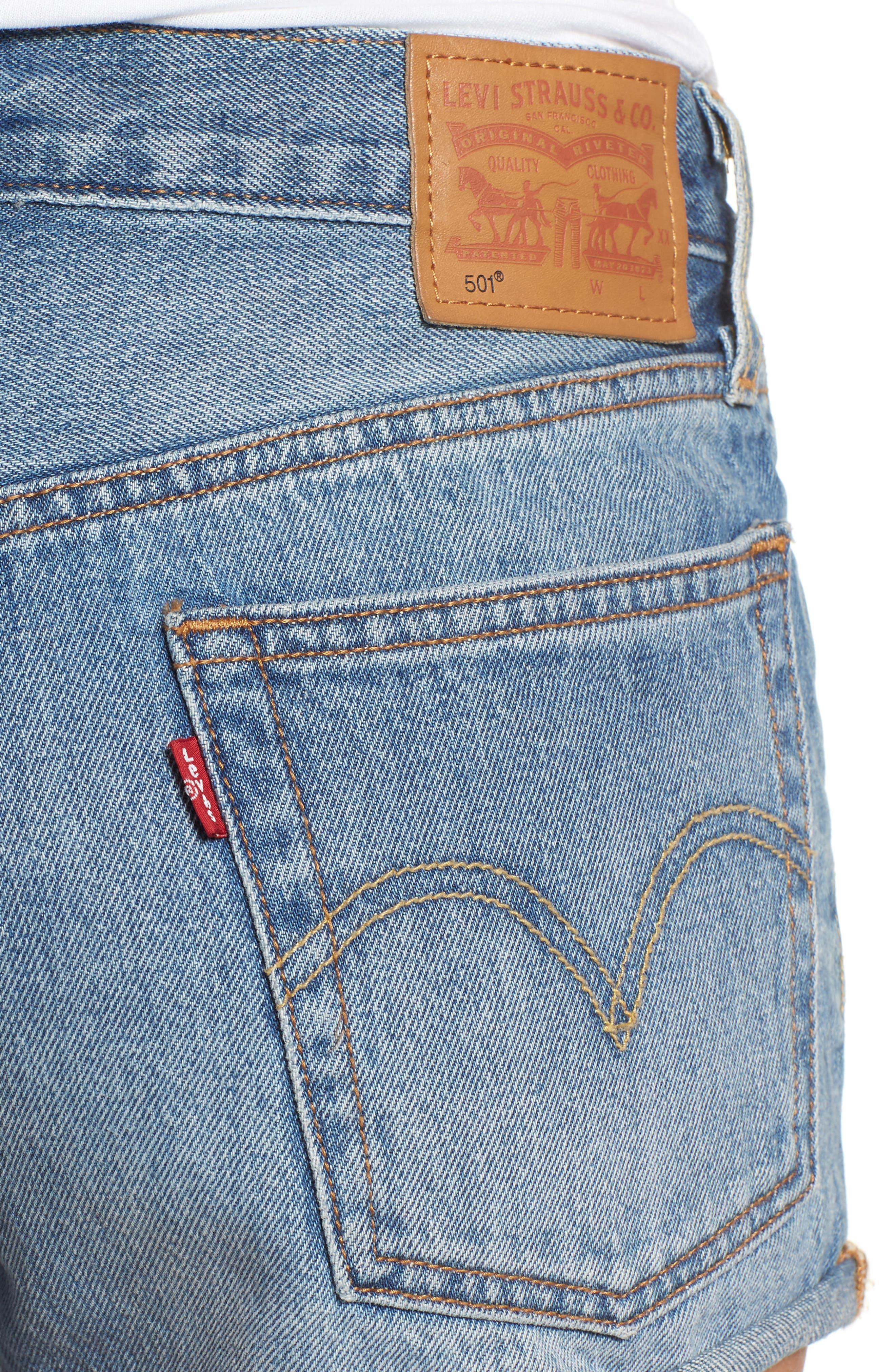 Cutoff Denim Shorts,                             Alternate thumbnail 4, color,                             400