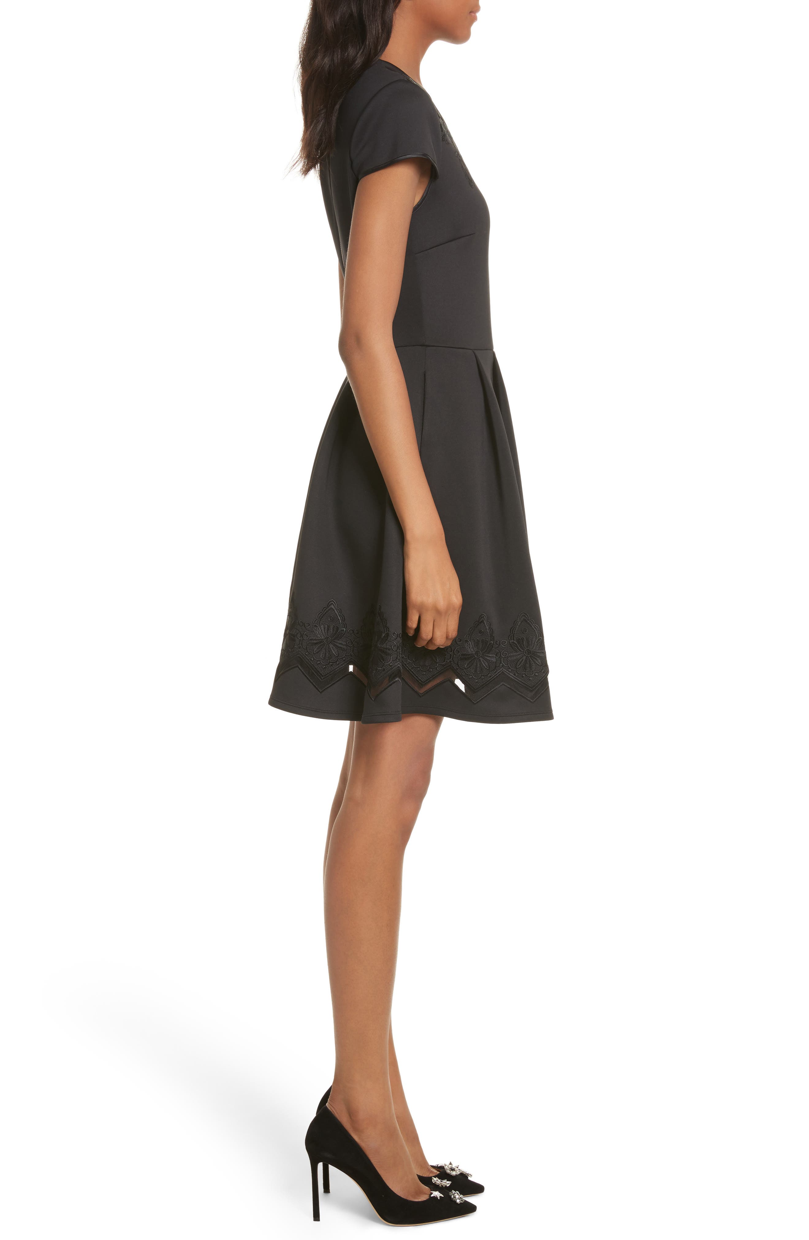 Mesh & Lace Trim Skater Dress,                             Alternate thumbnail 3, color,                             001