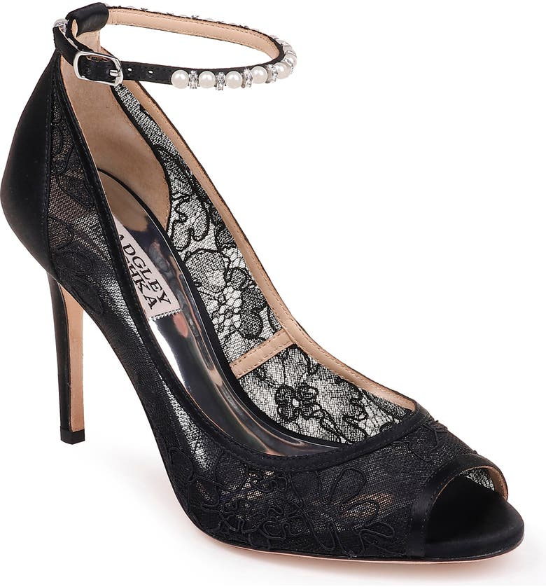 e5731b804198 BADGLEY MISCHKA COLLECTION Badgley Mischka Lesley Ankle Strap Open Toe Pump