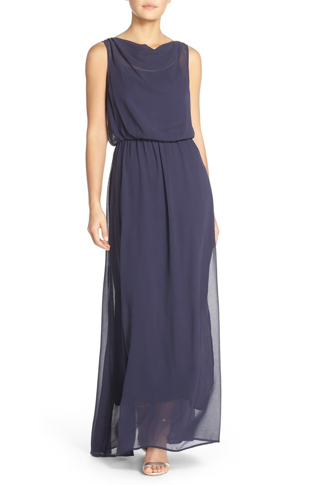 by Lauren Conrad 'Springfield' Cowl Neck Chiffon Gown,                         Main,                         color, 410