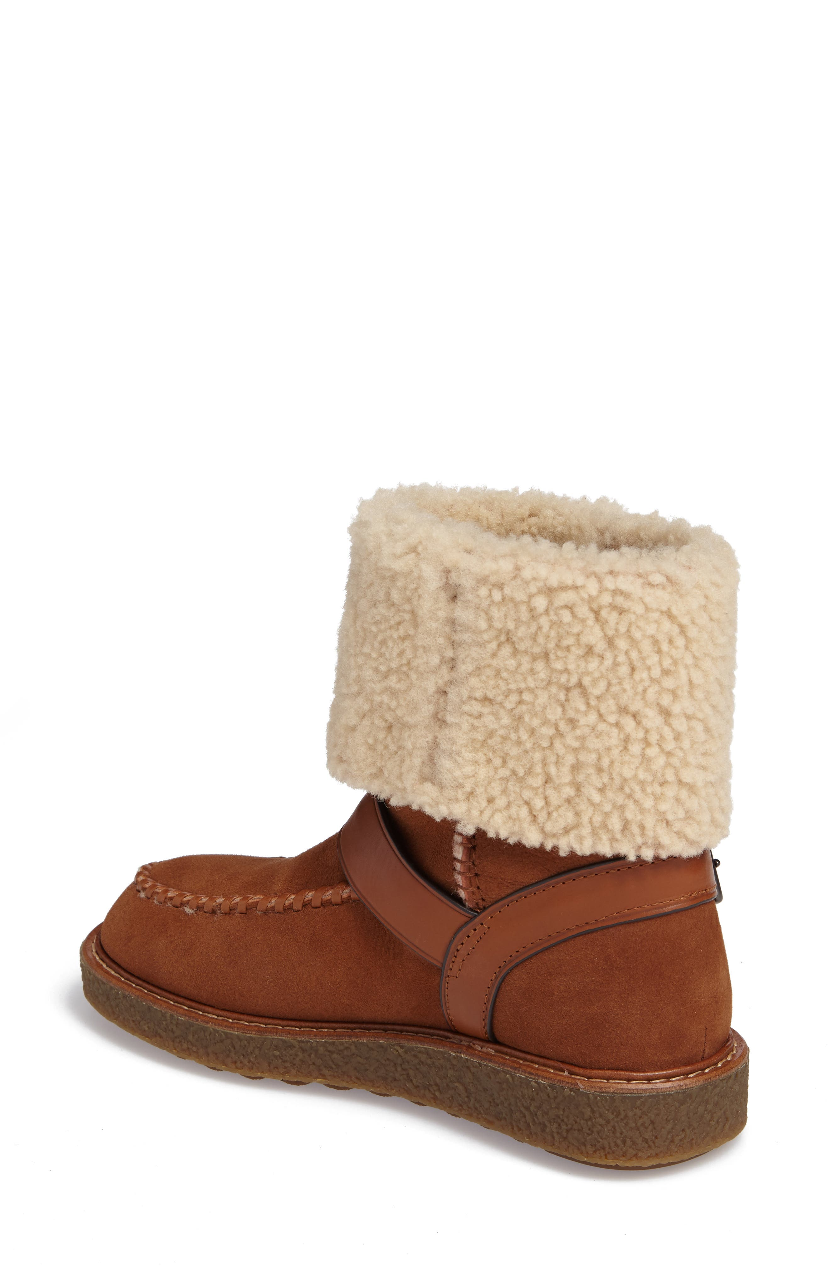 Genuine Shearling Moto Boot,                             Alternate thumbnail 5, color,