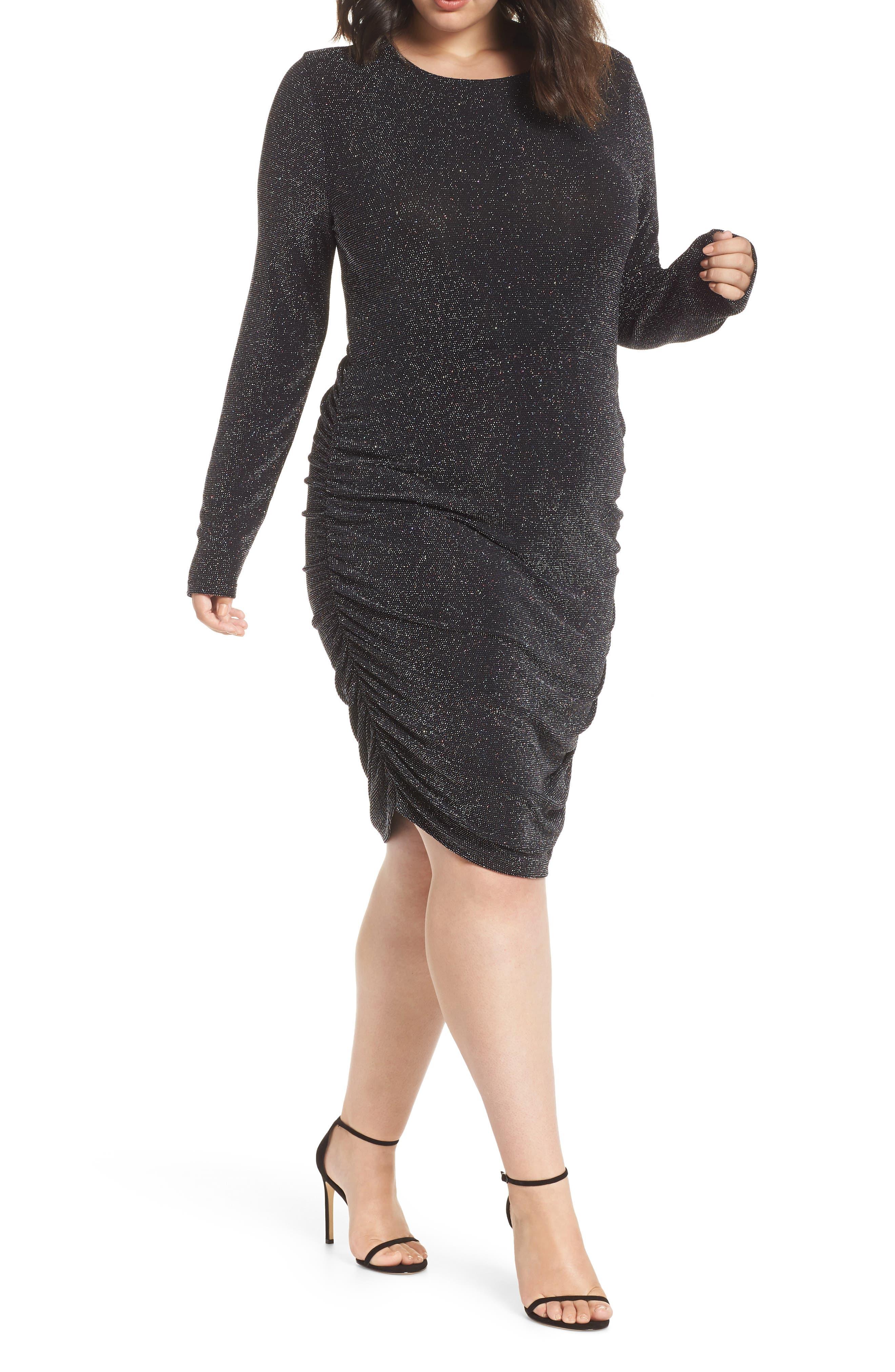 Metallic Body-Con Dress,                         Main,                         color, BLACK MULTI GLITTER