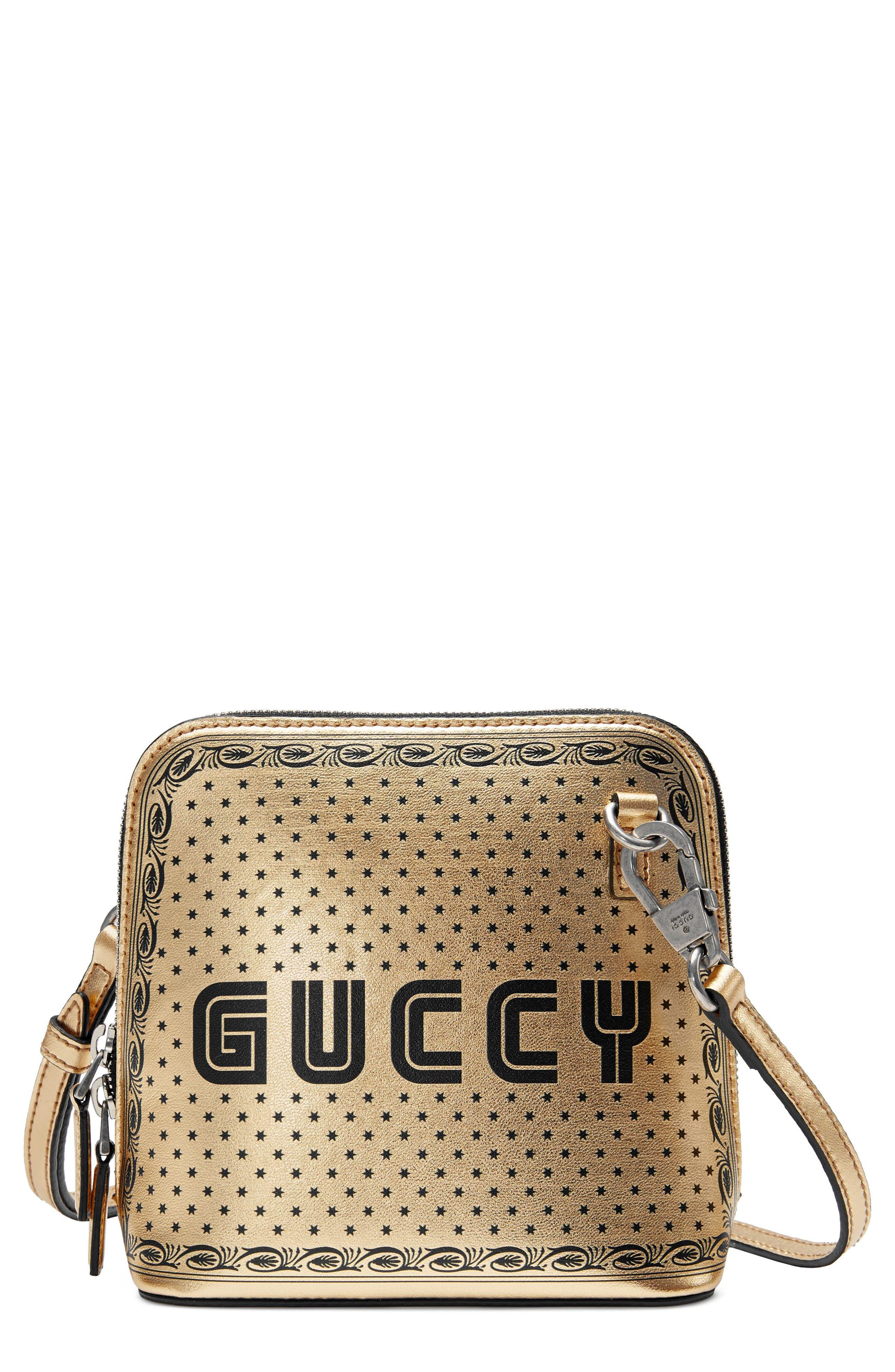 Guccy Logo Moon & Stars Leather Crossbody Bag,                             Main thumbnail 1, color,                             ORO/ NERO