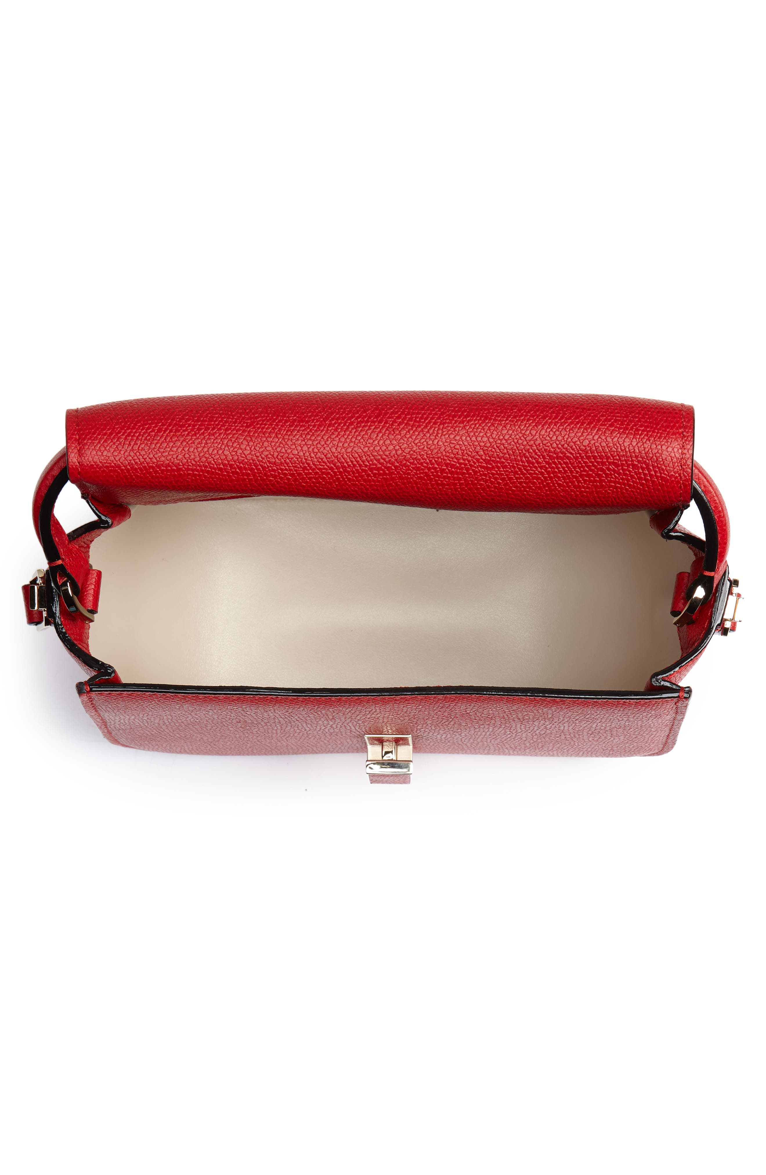 Iside Leather Top Handle Bag,                             Alternate thumbnail 4, color,                             RED