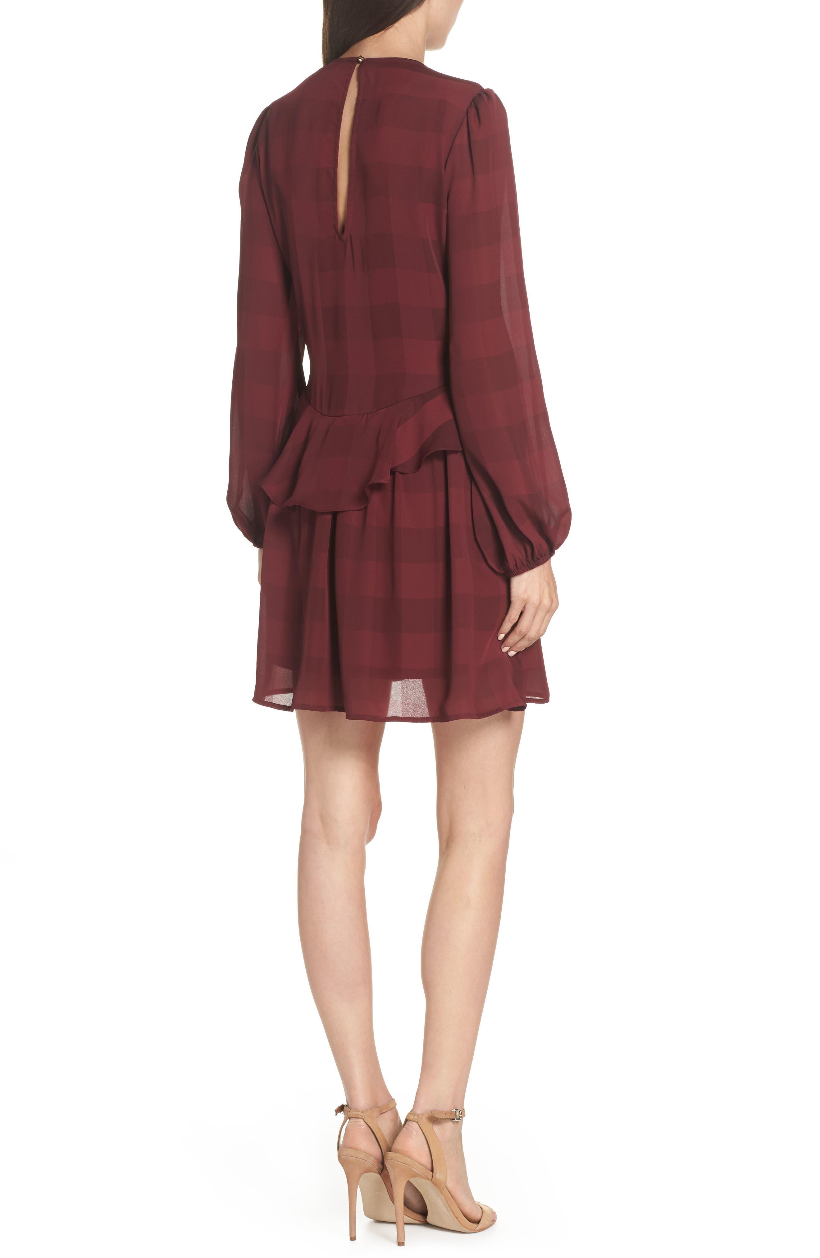 Heidi Ruffle Stripe Minidress,                             Alternate thumbnail 2, color,                             BURGUNDY