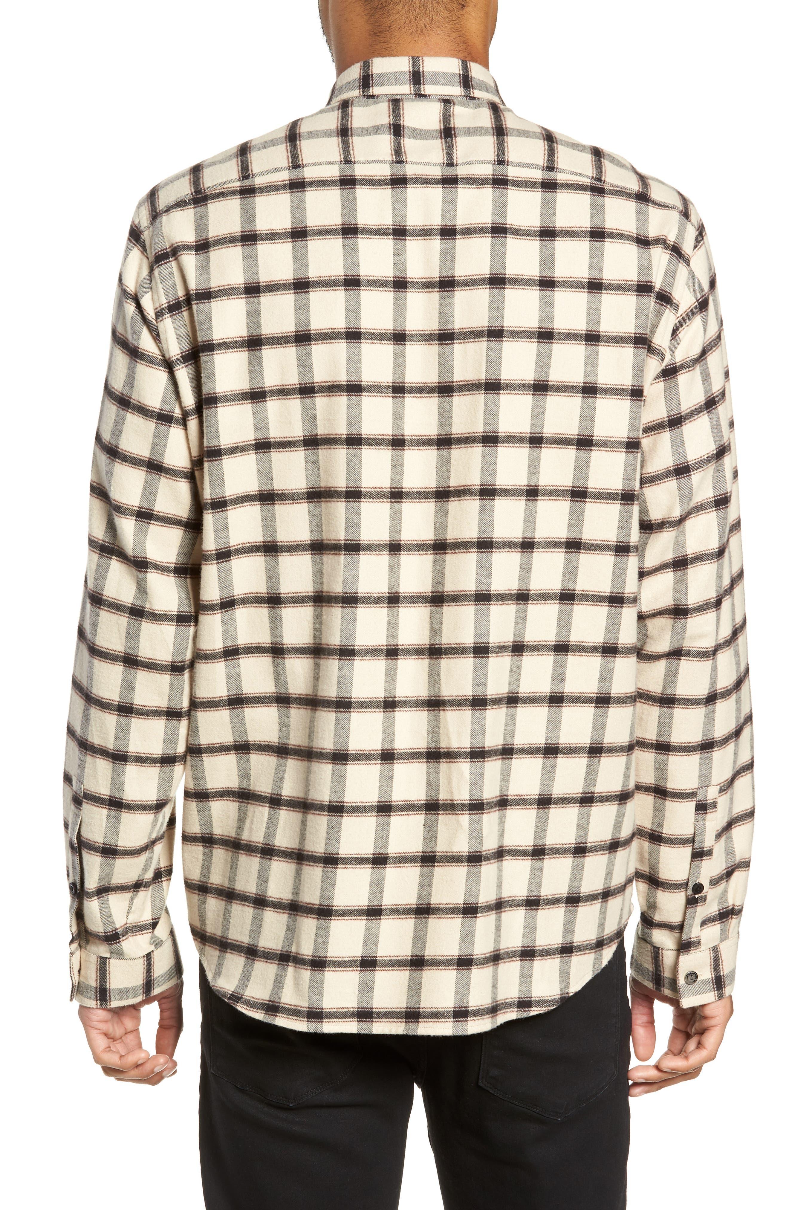 Long Sleeve Plaid Regular Fit Sport Shirt,                             Alternate thumbnail 3, color,                             BEIGE/ BLACK