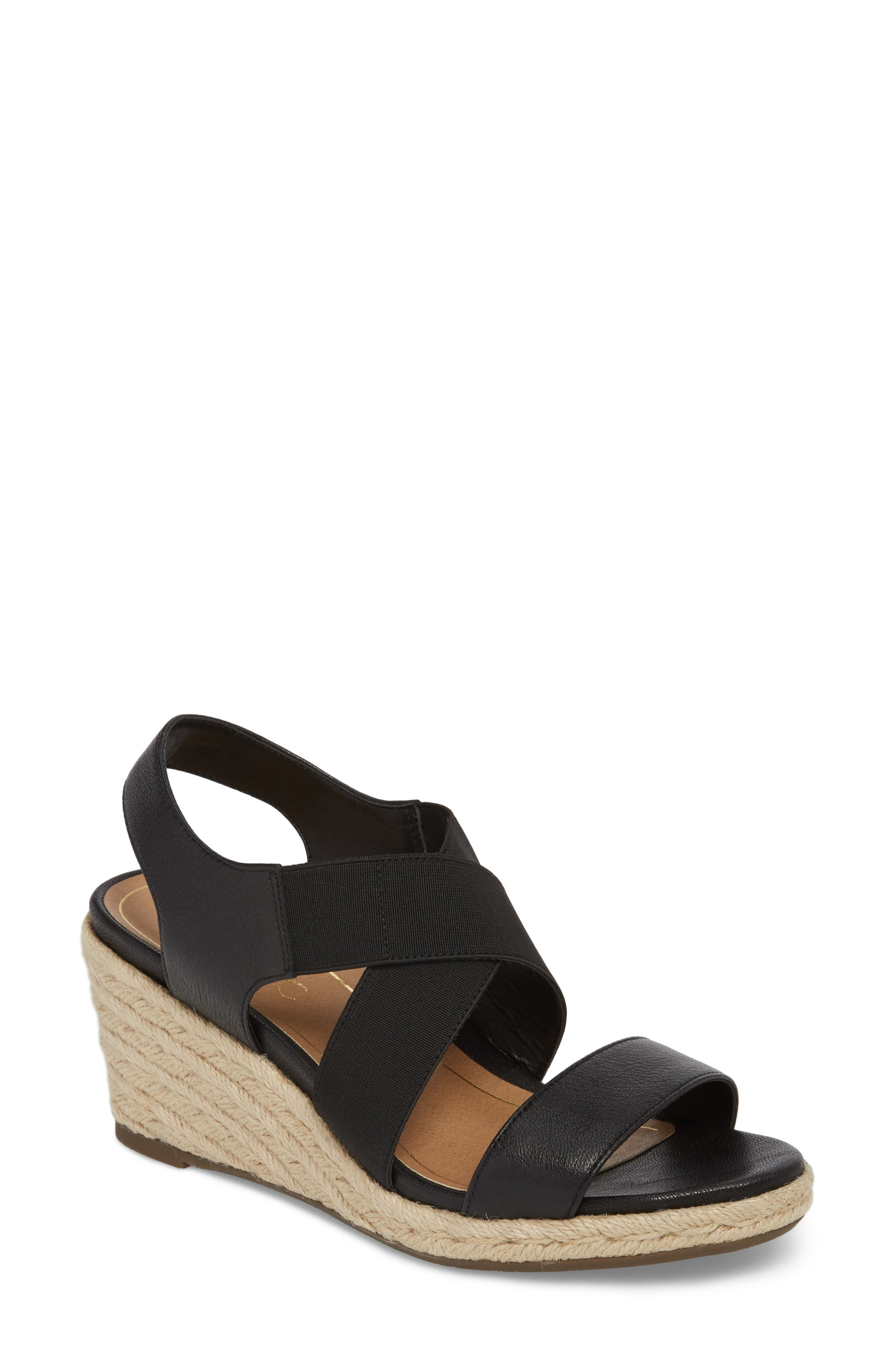Ainsleigh Wedge Sandal,                             Main thumbnail 1, color,                             BLACK LEATHER