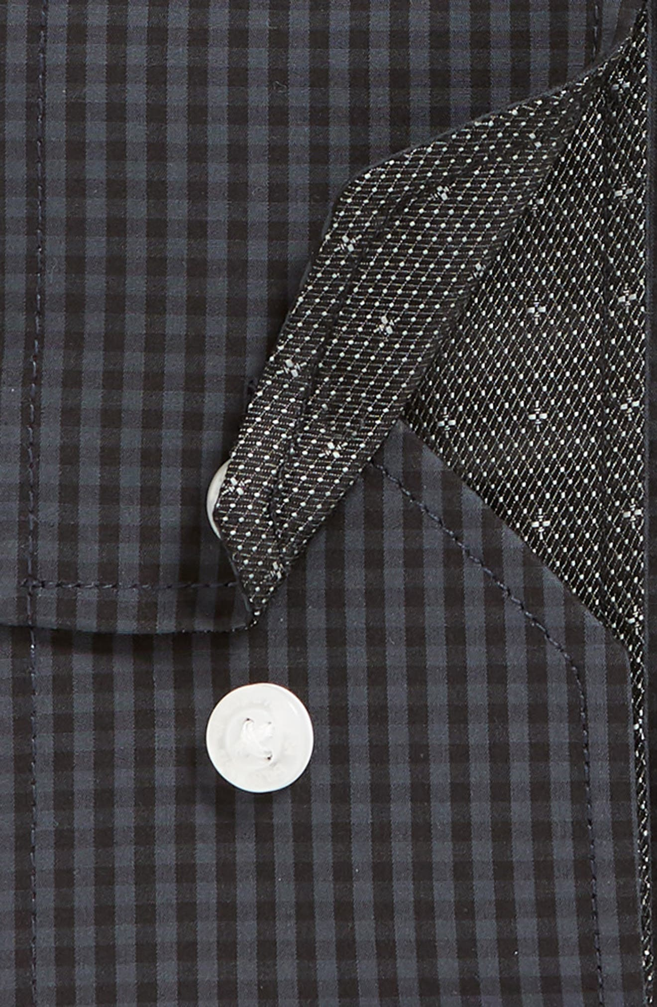 Regular Fit Check Dress Shirt,                             Alternate thumbnail 6, color,                             GREY