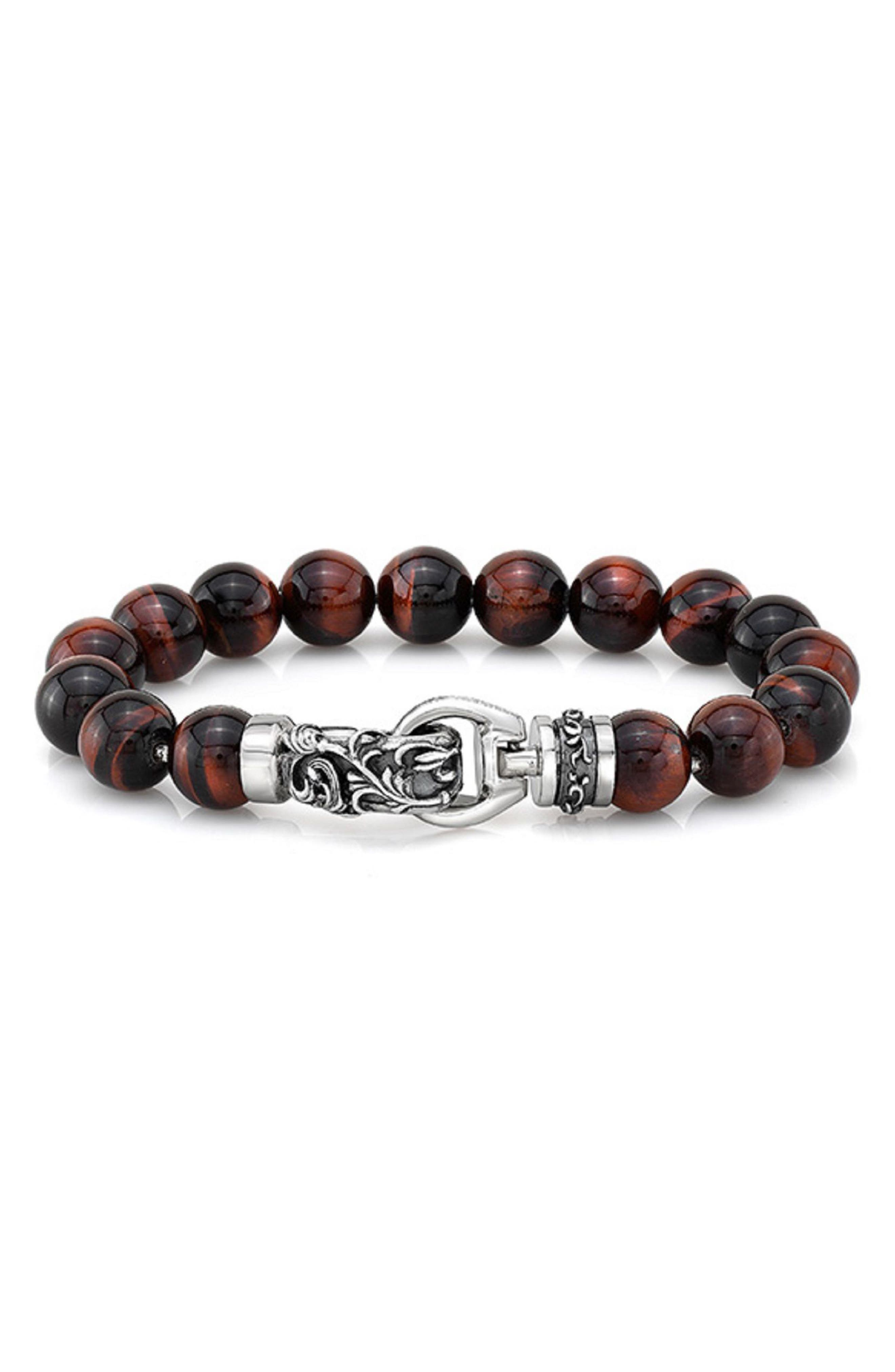 Tiger's Eye Bead Bracelet,                         Main,                         color, RED