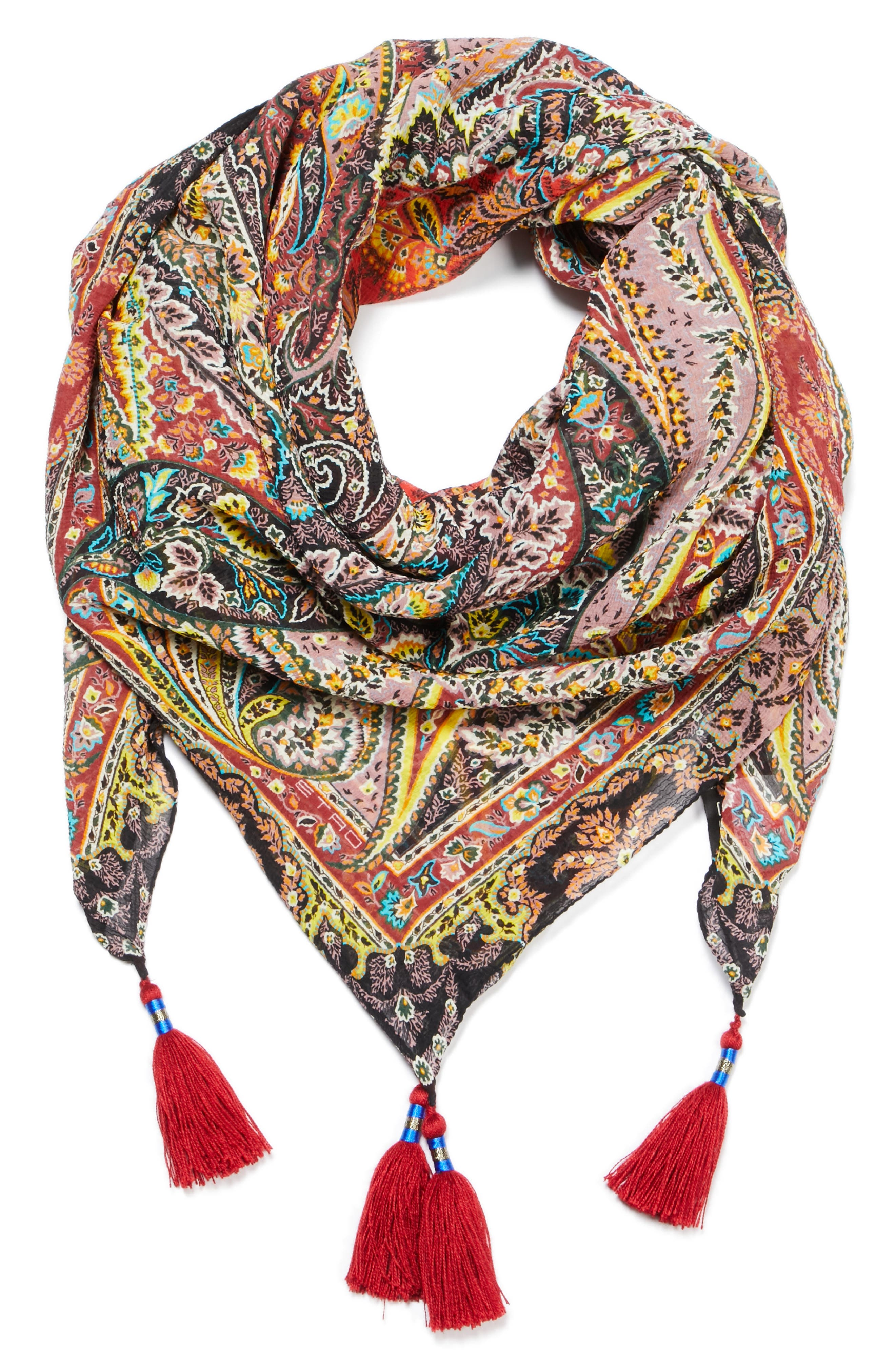 Fern Paisley Tassel Silk Square Scarf,                             Alternate thumbnail 3, color,                             RED MULTI