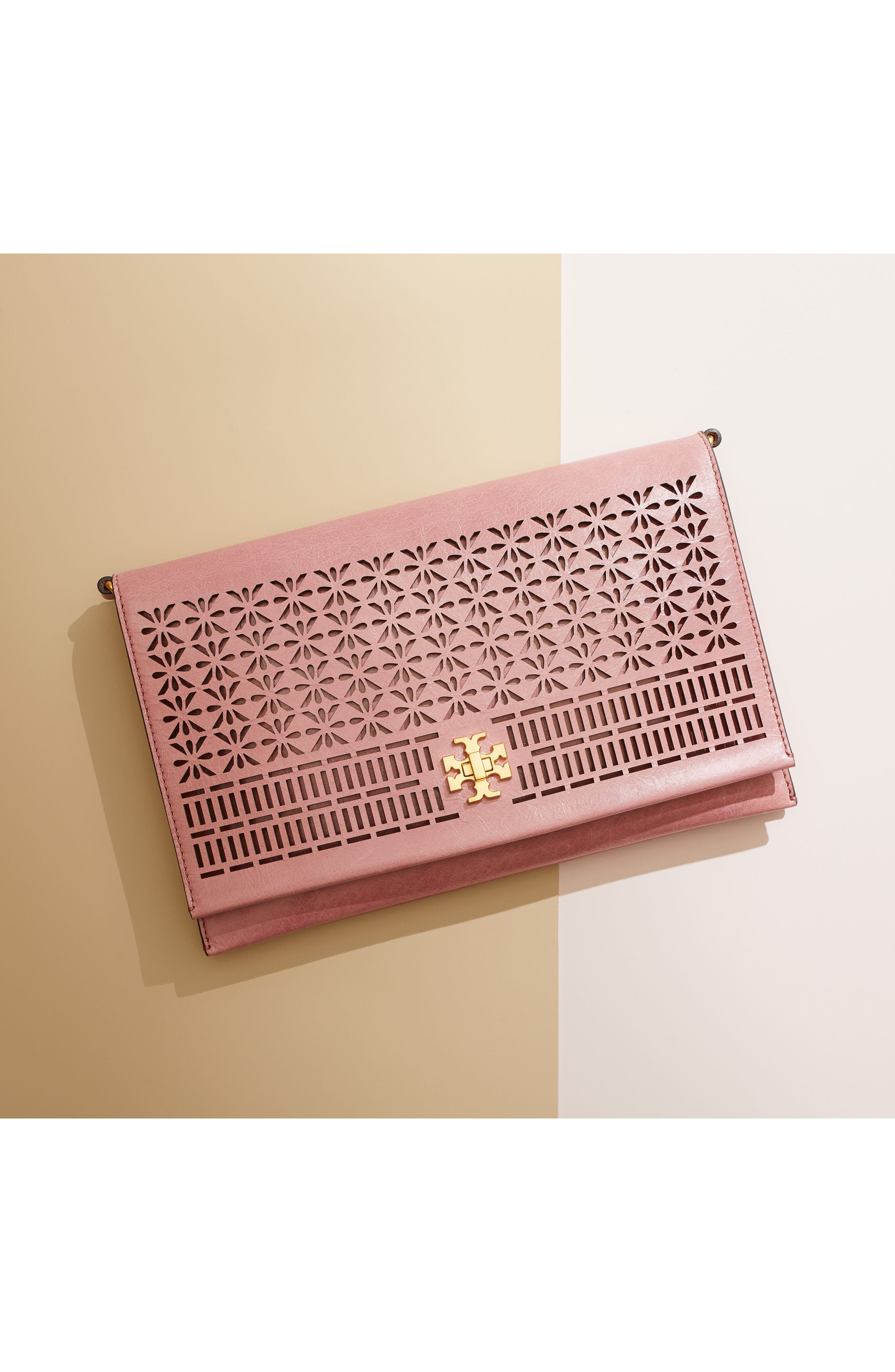Kira Perforated Leather Clutch,                             Alternate thumbnail 8, color,                             PINK MAGNOLIA
