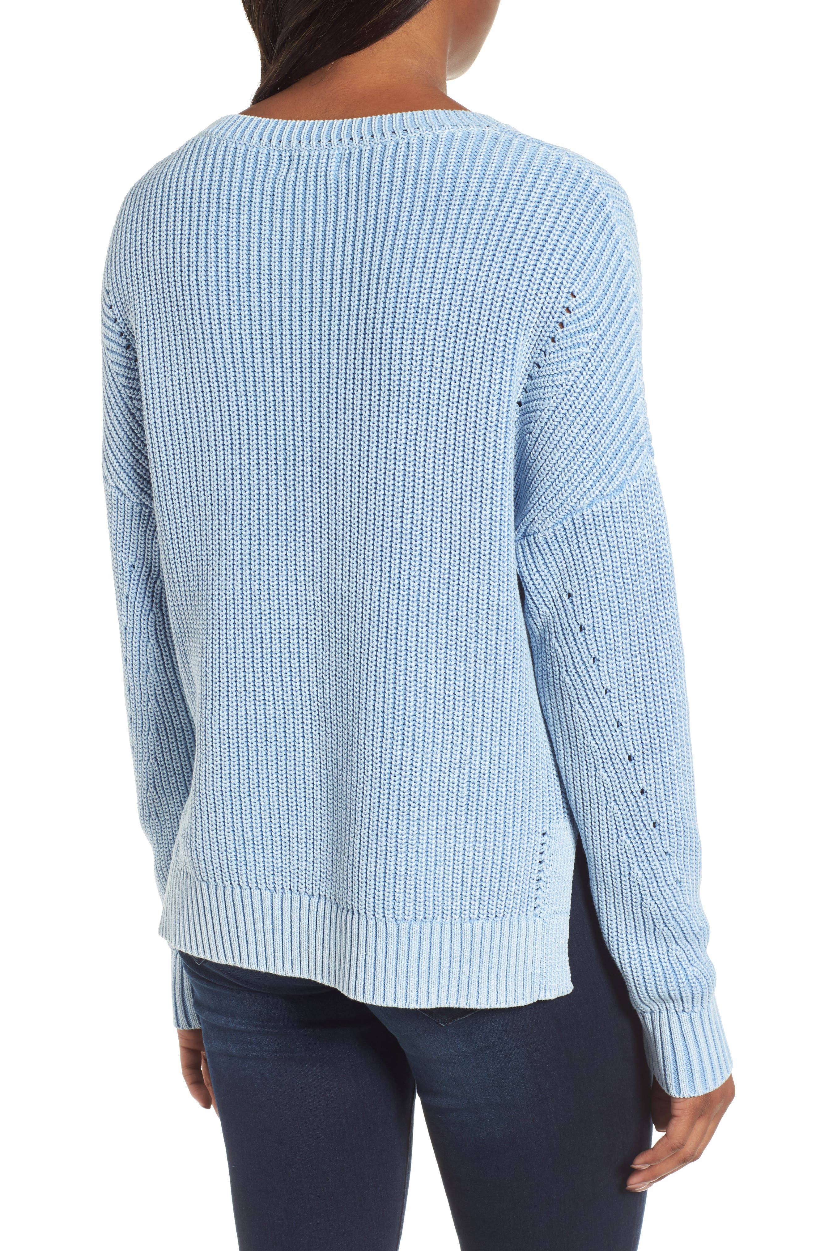 Shaker Stitch Cotton Sweater,                             Alternate thumbnail 3, color,