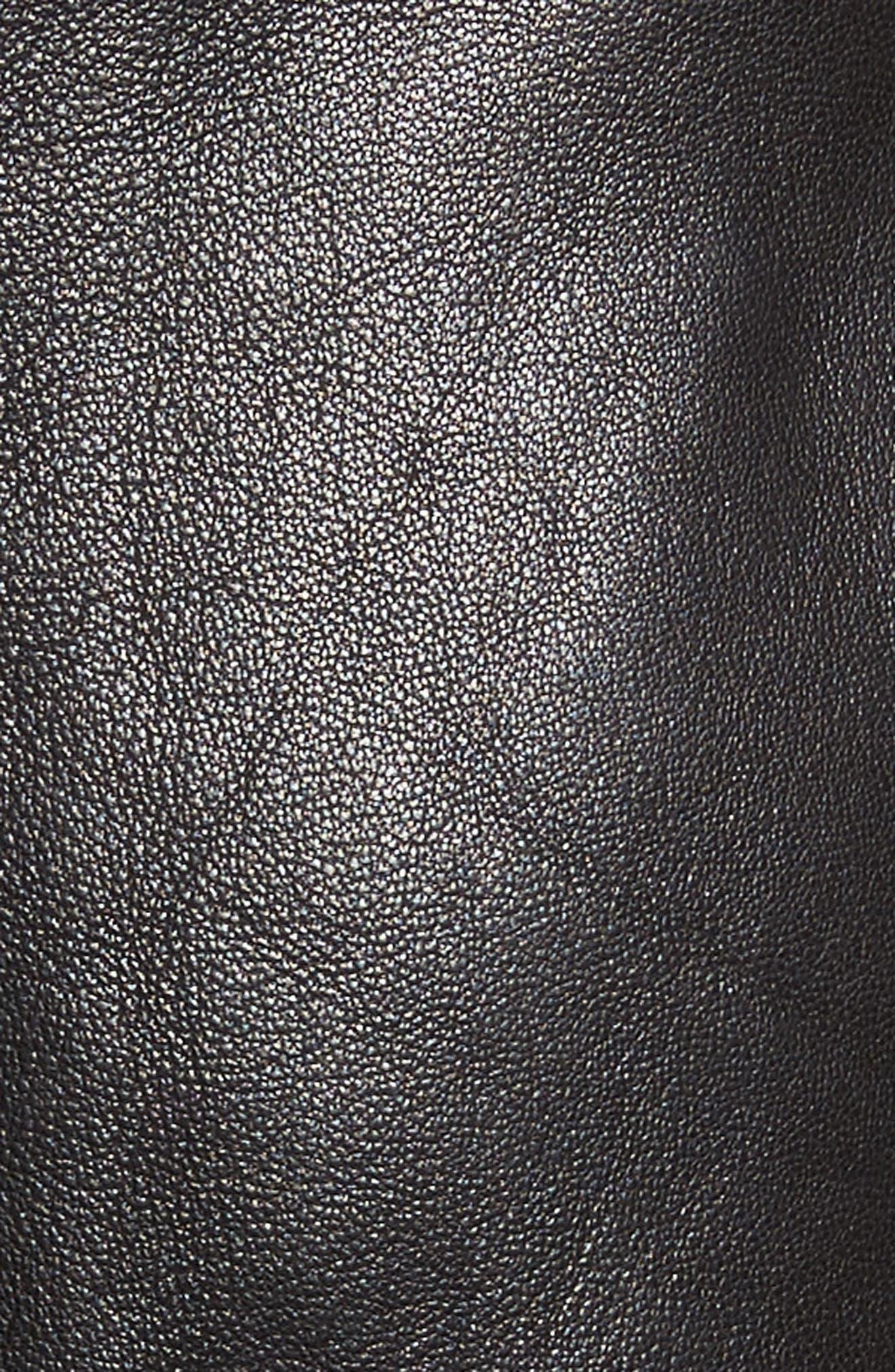 Kahlo Ruffle One-Shoulder Leather Dress,                             Alternate thumbnail 5, color,                             001
