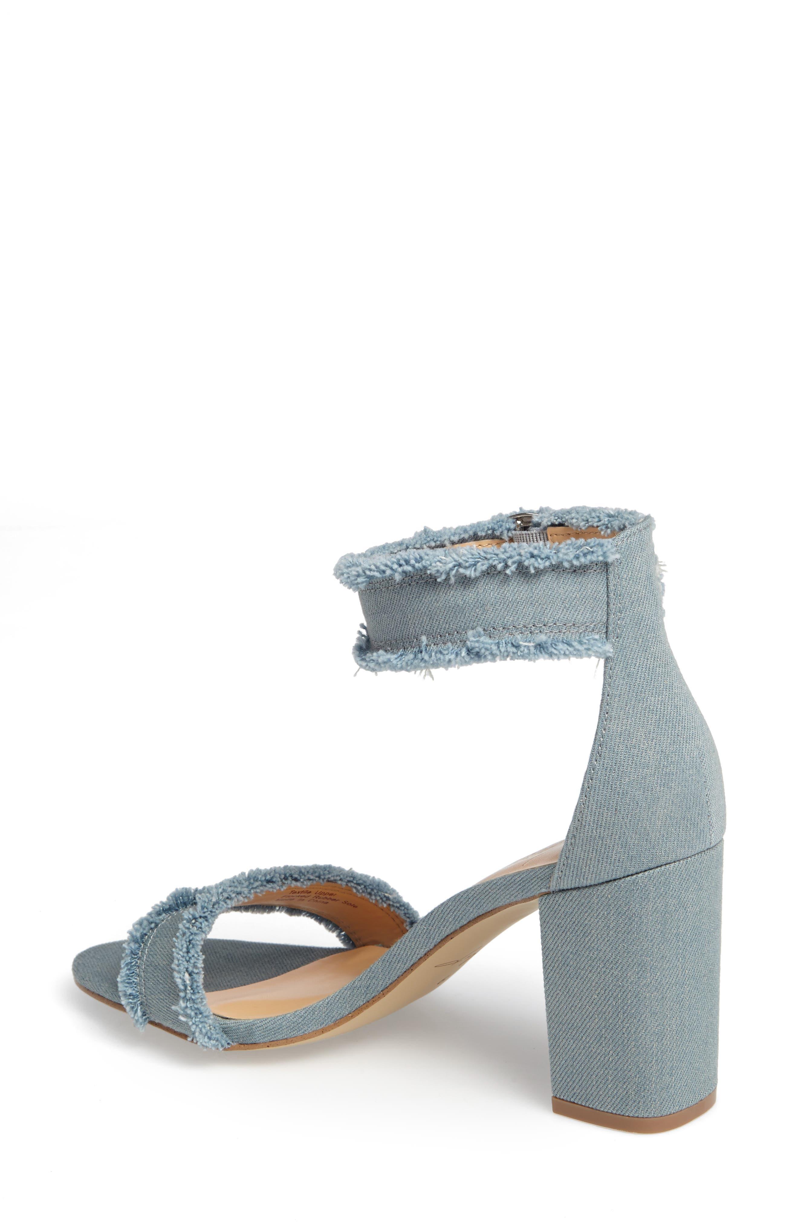 by Zendaya Shasta Fringe Denim Ankle Strap Sandal,                             Alternate thumbnail 6, color,