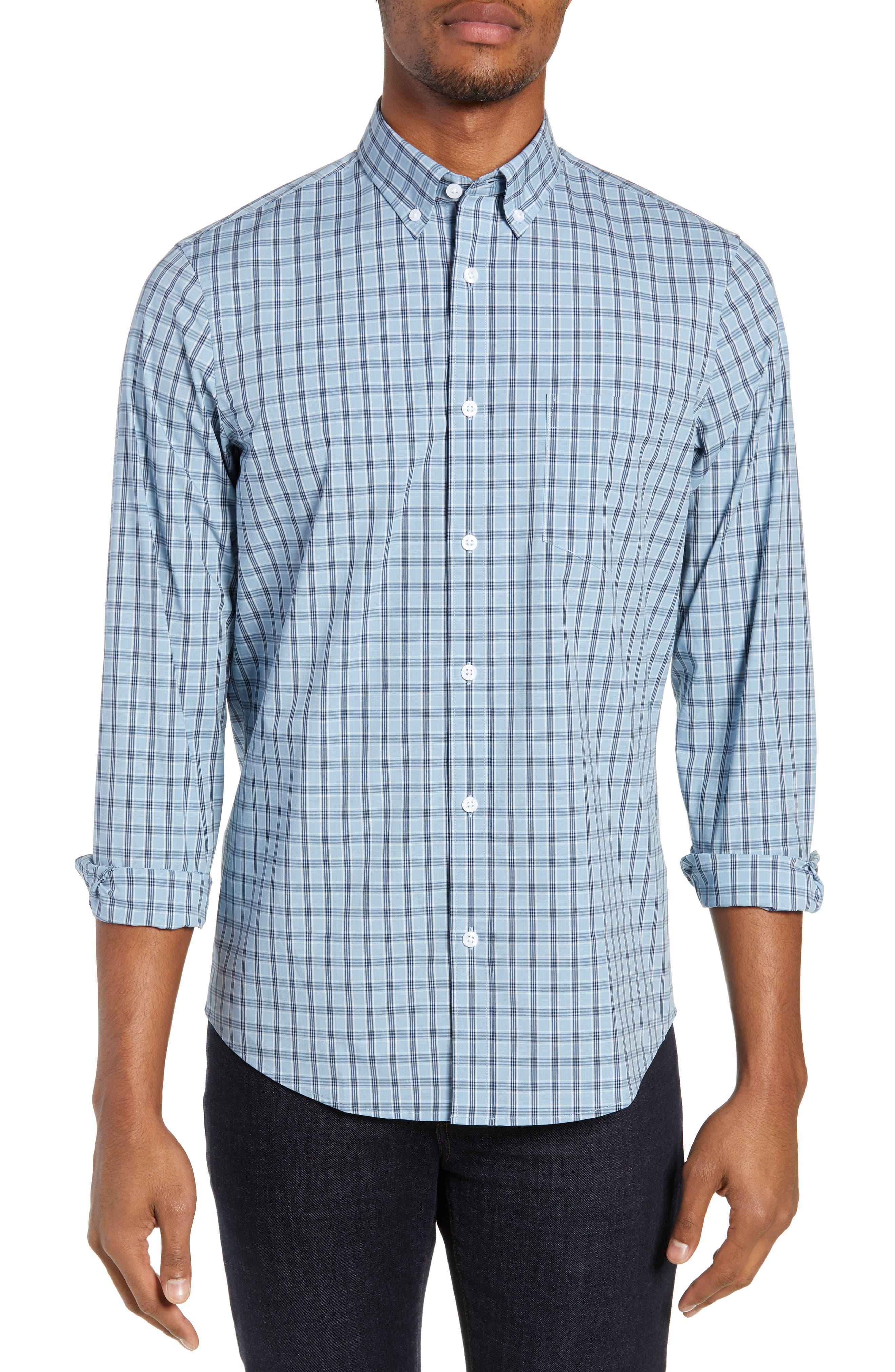 Tech-Smart Slim Fit Plaid Sport Shirt,                             Main thumbnail 1, color,                             BLUE HEAVEN HEATHER CHECK