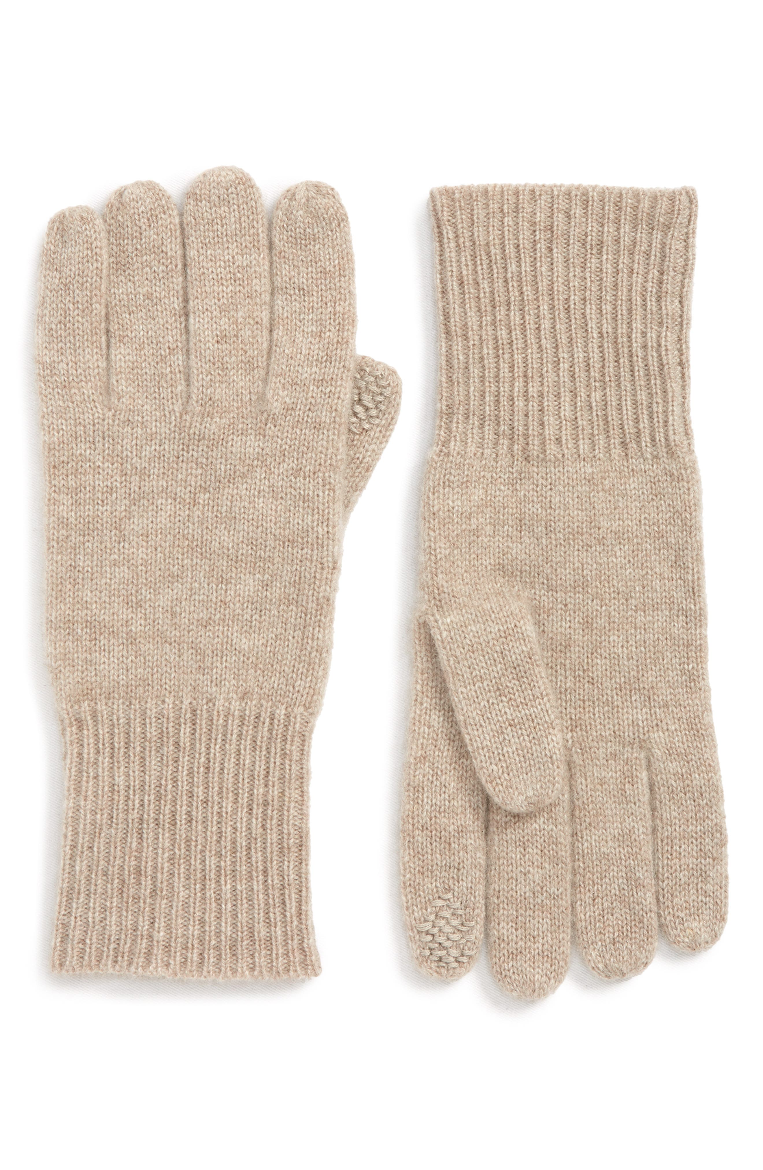 Rib Knit Cashmere Gloves,                             Main thumbnail 1, color,                             BEIGE OATMEAL DARK HTR