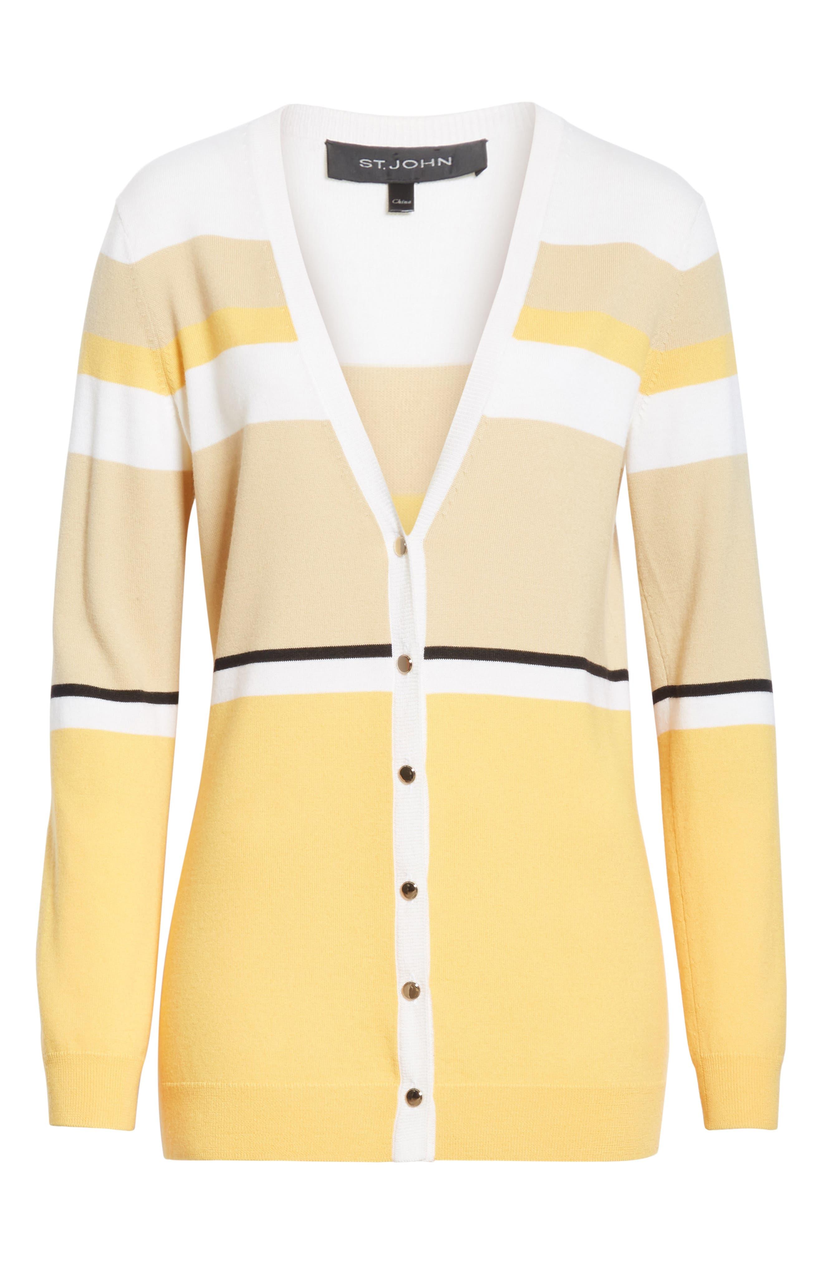 Stripe Jersey Knit Cardigan,                             Alternate thumbnail 6, color,                             WHITE MULTI