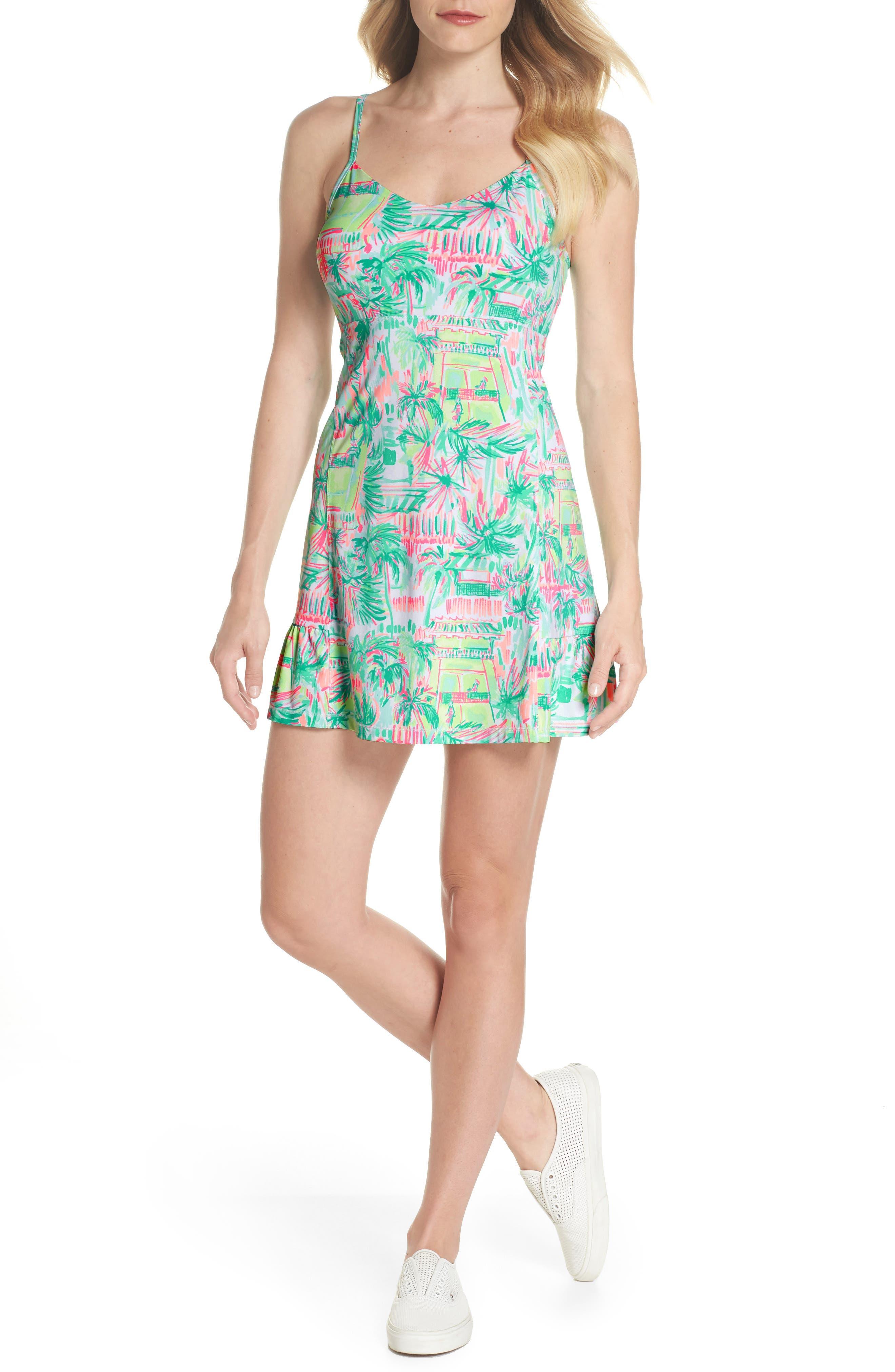 Adelia UPF 50+ Tennis Dress,                             Main thumbnail 1, color,                             MULTI PERFECT MATCH